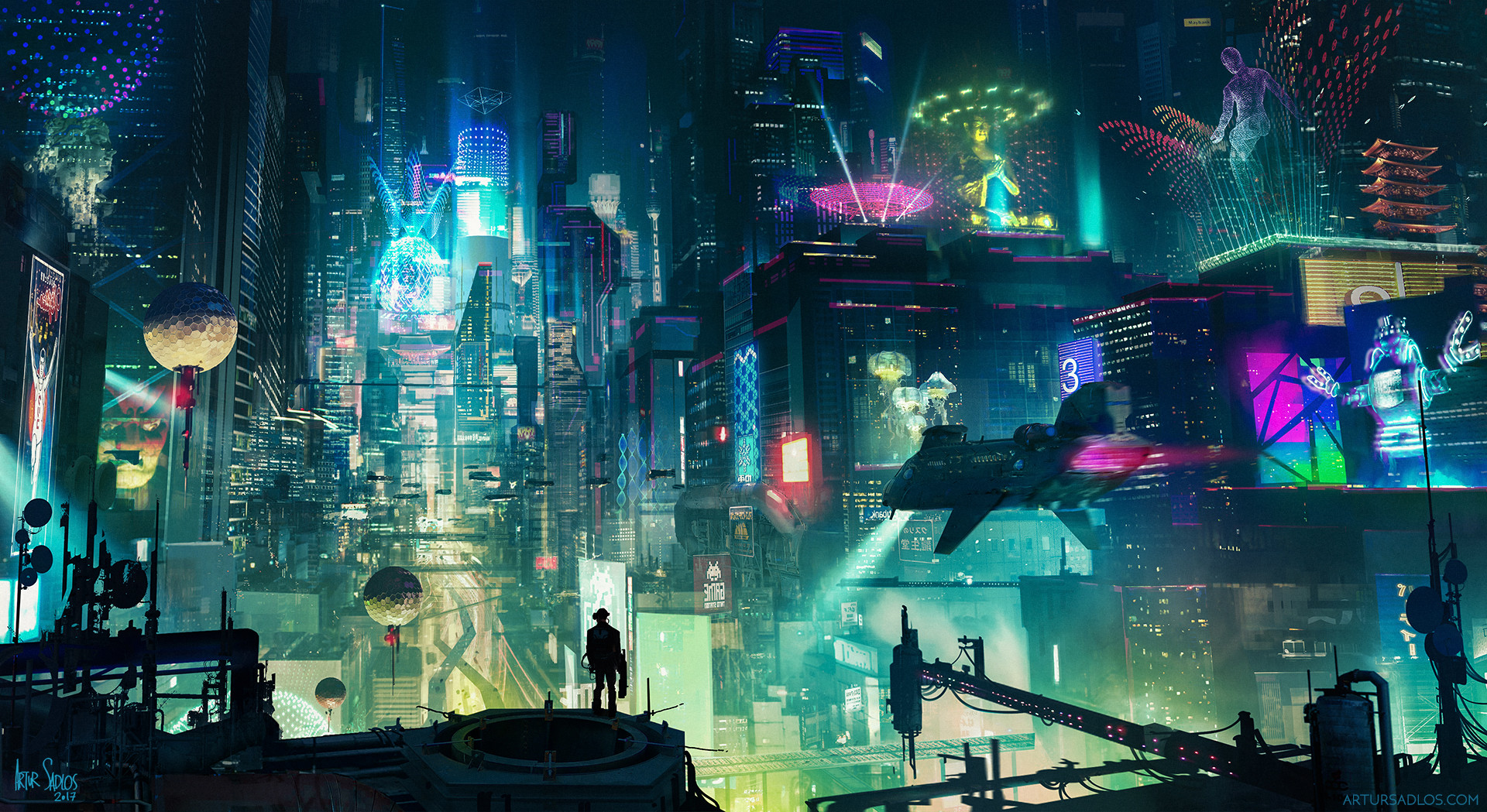 General 1920x1049 cyberpunk cityscape cityscape city skyscraper building futuristic futuristic city lights night metropolis  digital art advertisements street light street