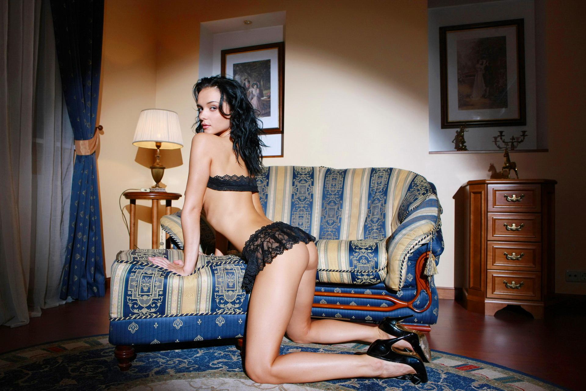 People 1920x1280 Jenya D ass Eugenia Dior lingerie bent over looking  over shoulder looking at viewer high heels kneeling Katie Fey