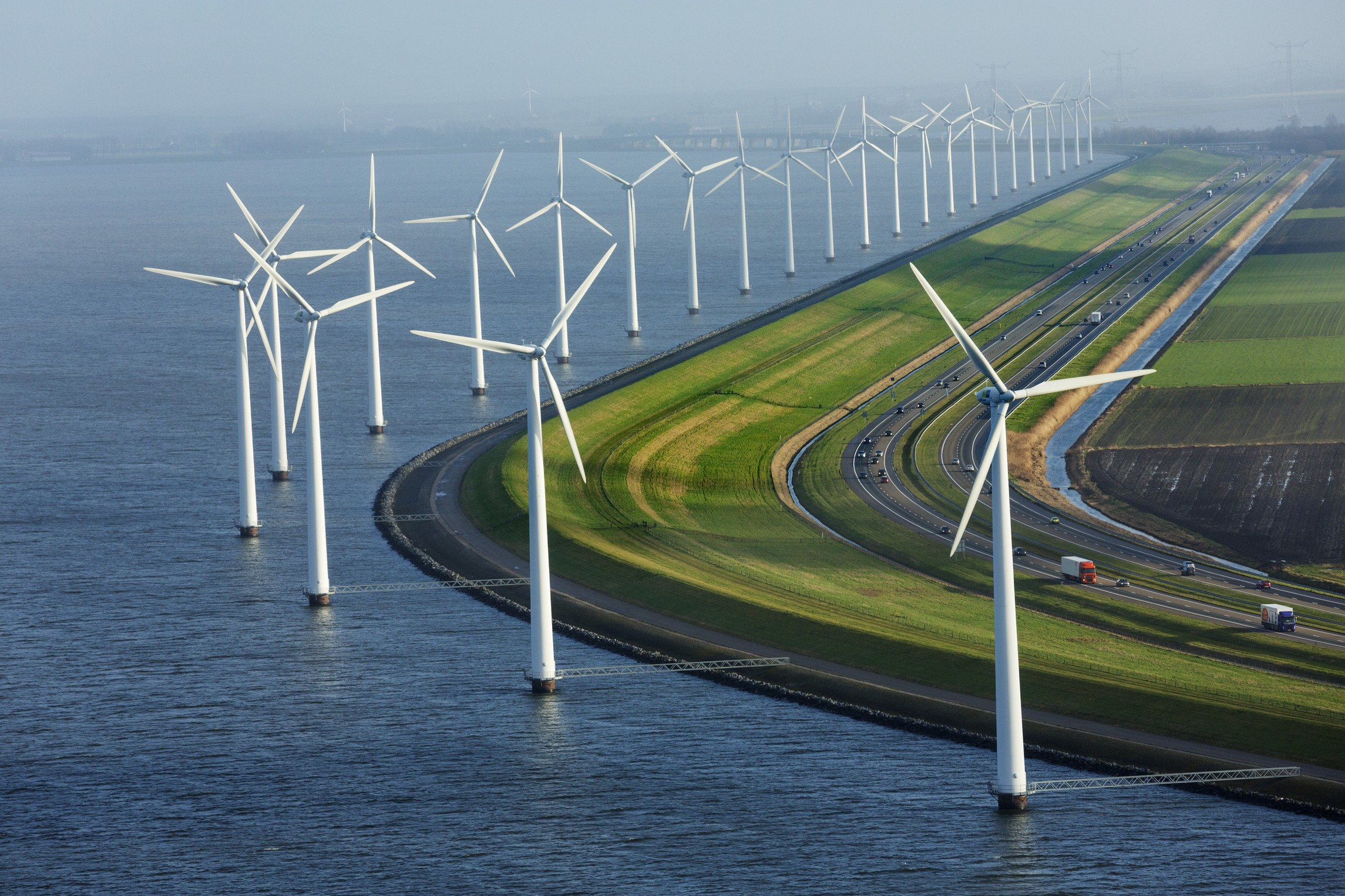 General 2290x1526 windmill Netherlands road sea car field wind farm highway coast