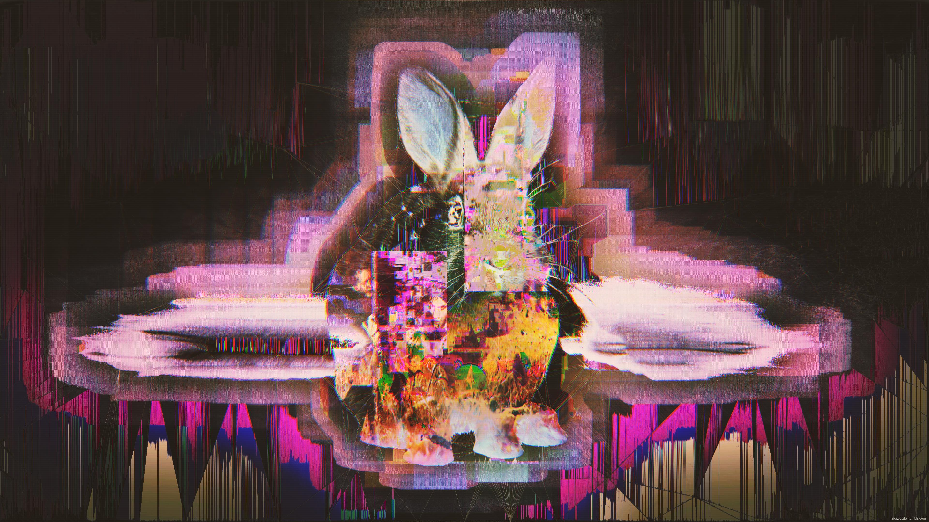 General 3840x2160 glitch art abstract rabbits