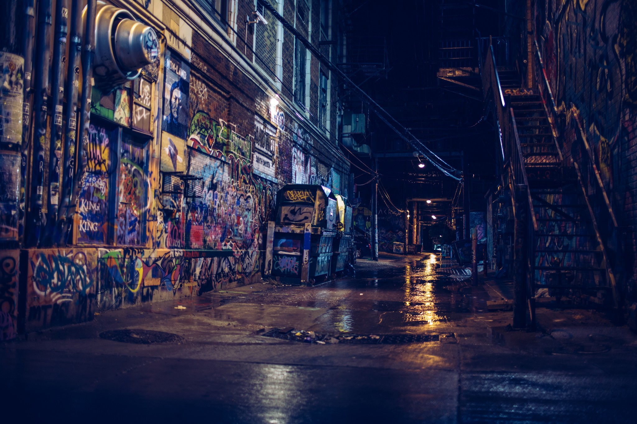 General 2048x1365 photography street alleyway city night graffiti reflection building stairs