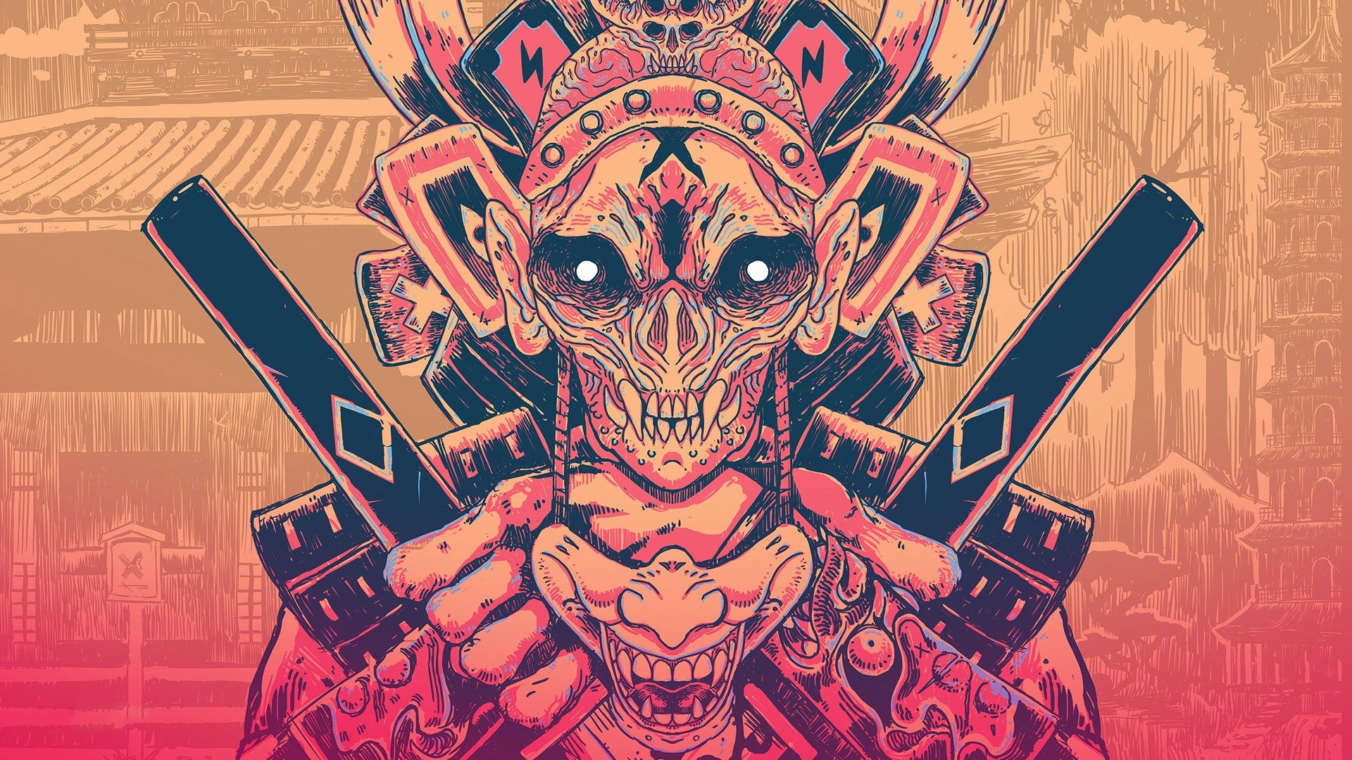 General 1920x1080 digital art samurai mask picture artwork beige pink demon skull
