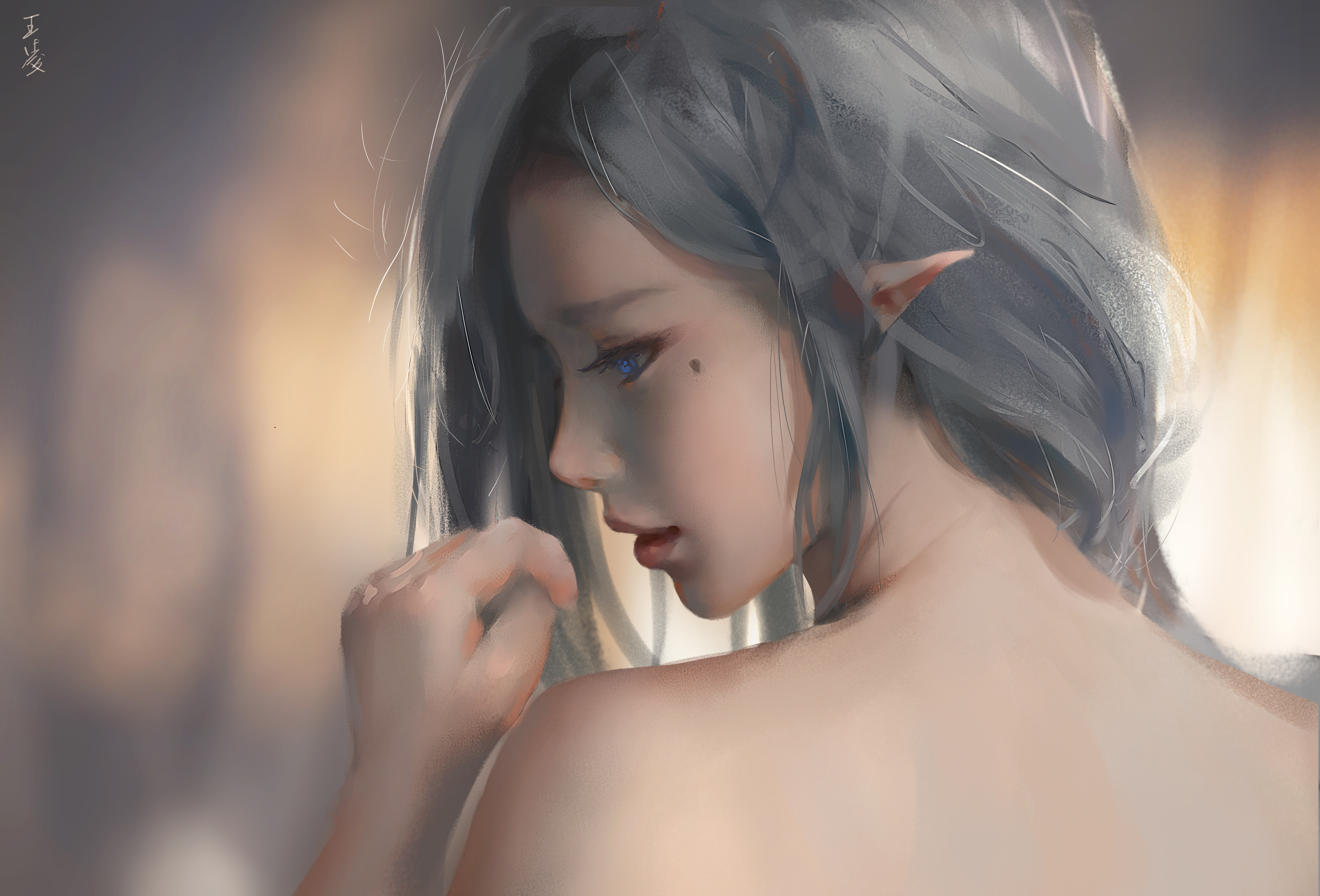 Anime 4996x3392 WLOP digital art artwork painting women anime girls Ghost Blade anime bare shoulders elven white hair blue eyes looking back fantasy art fantasy girl
