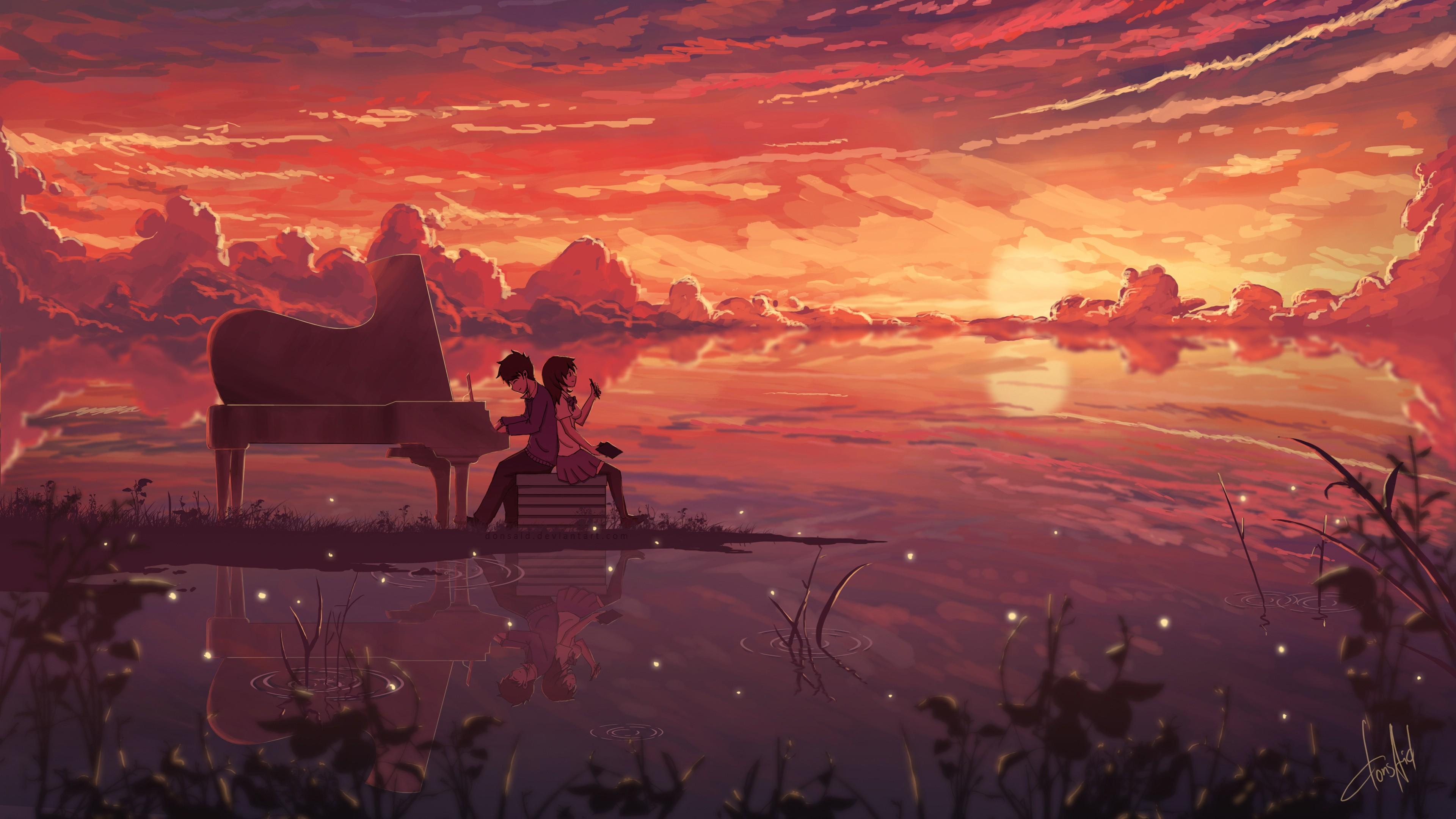 Anime 3840x2160 anime girls anime boys piano anime sky outdoors sunlight reflection water