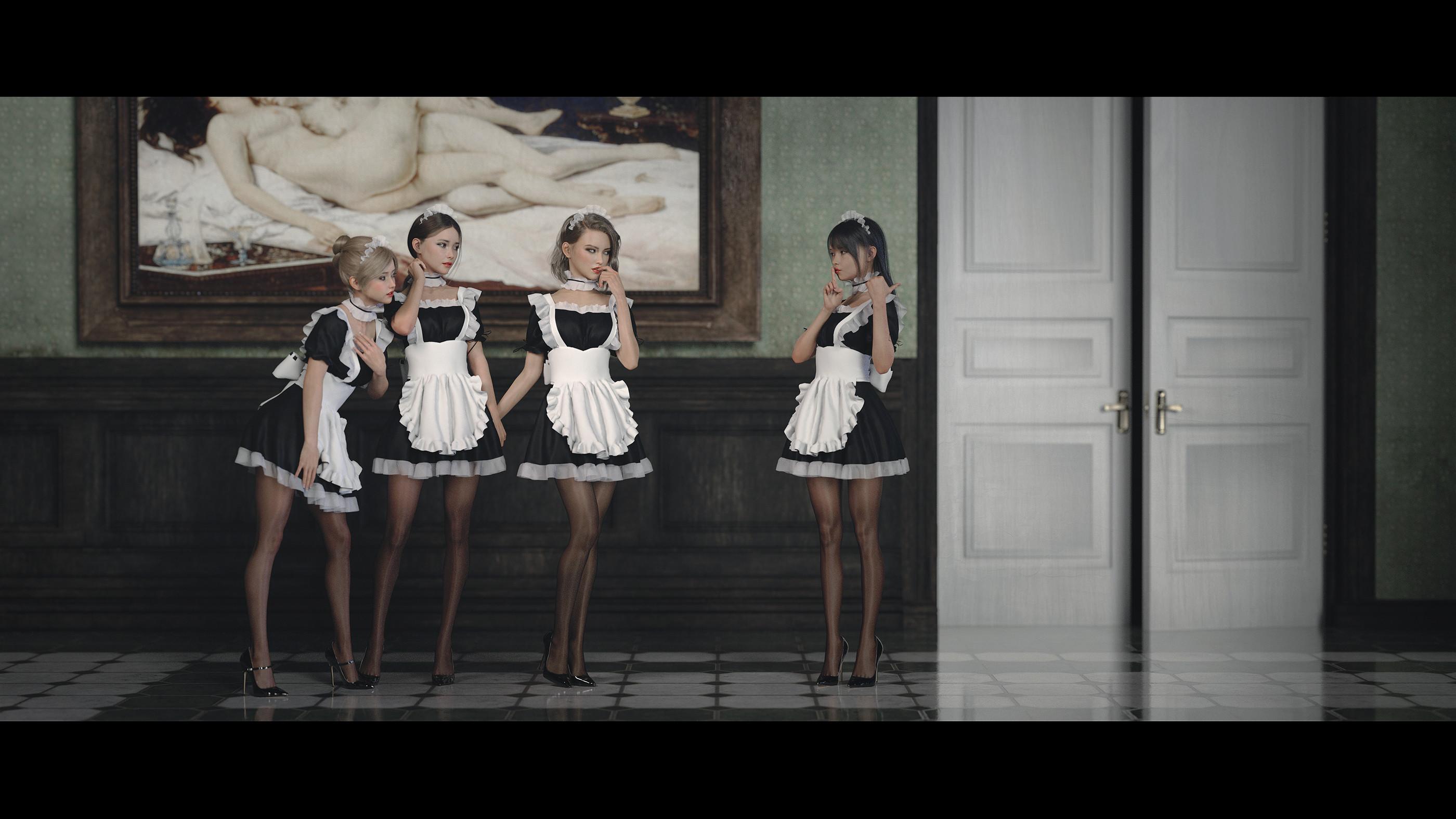 General 2800x1575 maiden women heels black heels pantyhose dark hair blonde legs Lou LL ArroLL maid outfit 3D LouLL_Aroll apron