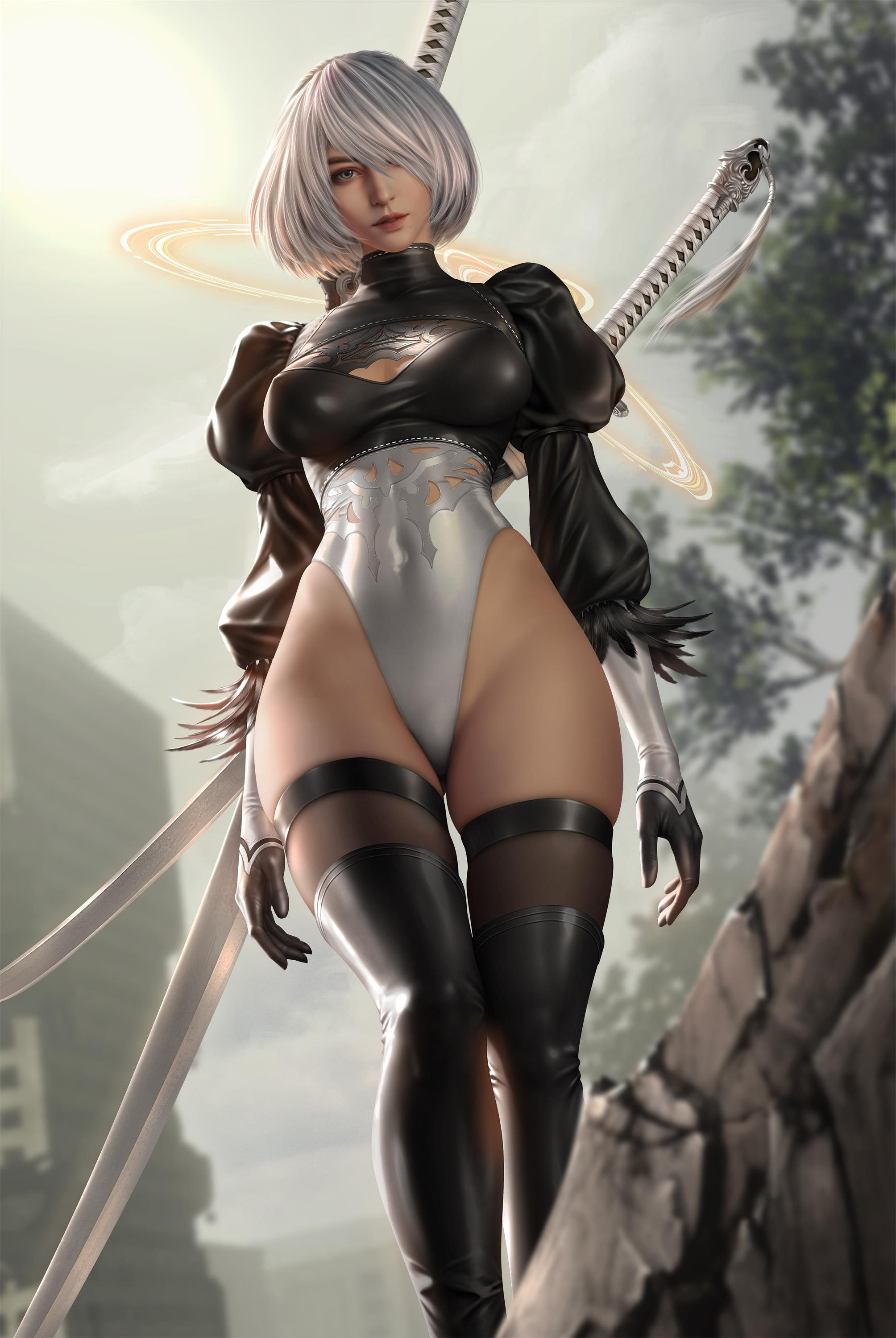 General 2008x3000 2B Yorha unit no.2 type b skimpy clothes cloudy_d Nier: Automata 2B (Nier: Automata) 3D graphics render wide hips thighs thigh-highs black stockings satin gloves gloves video games video game girls video game art women