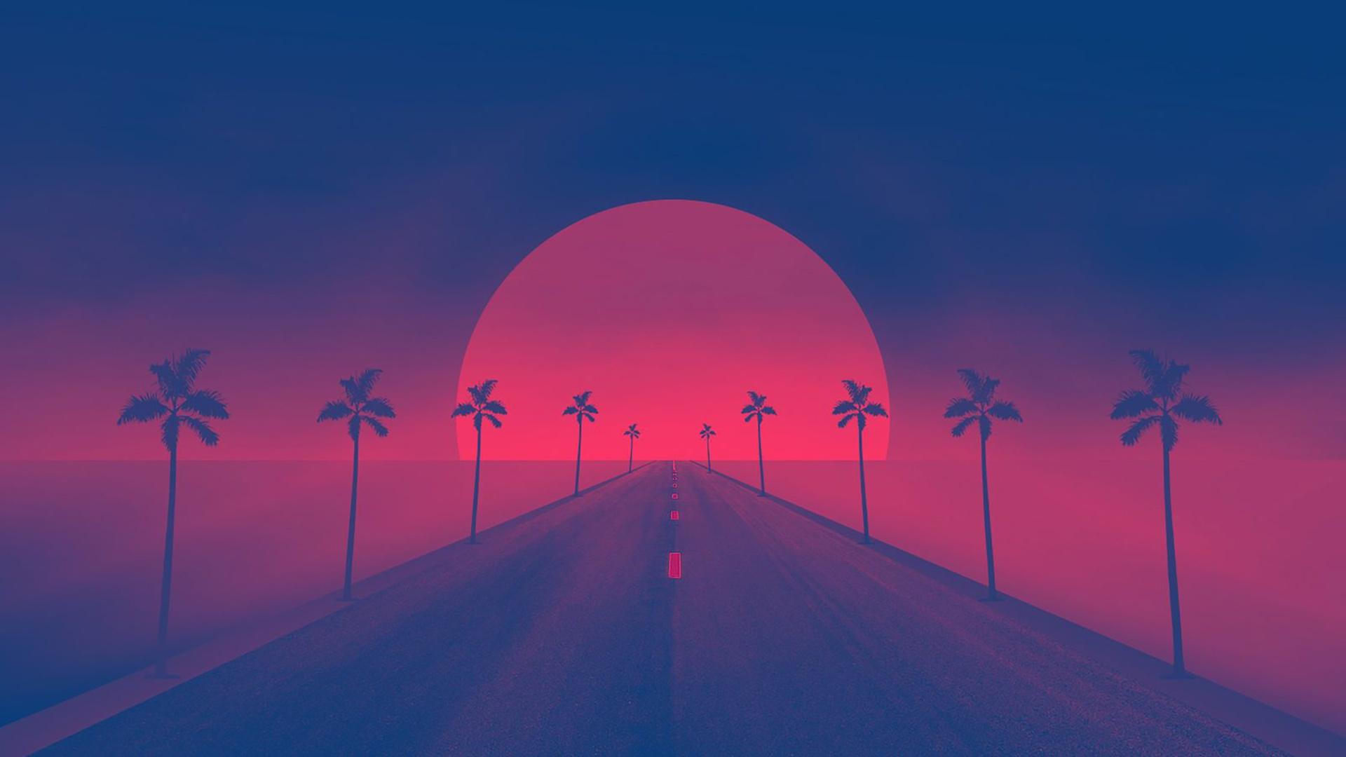 General 1920x1080 road Sun Retrowave synthwave artwork