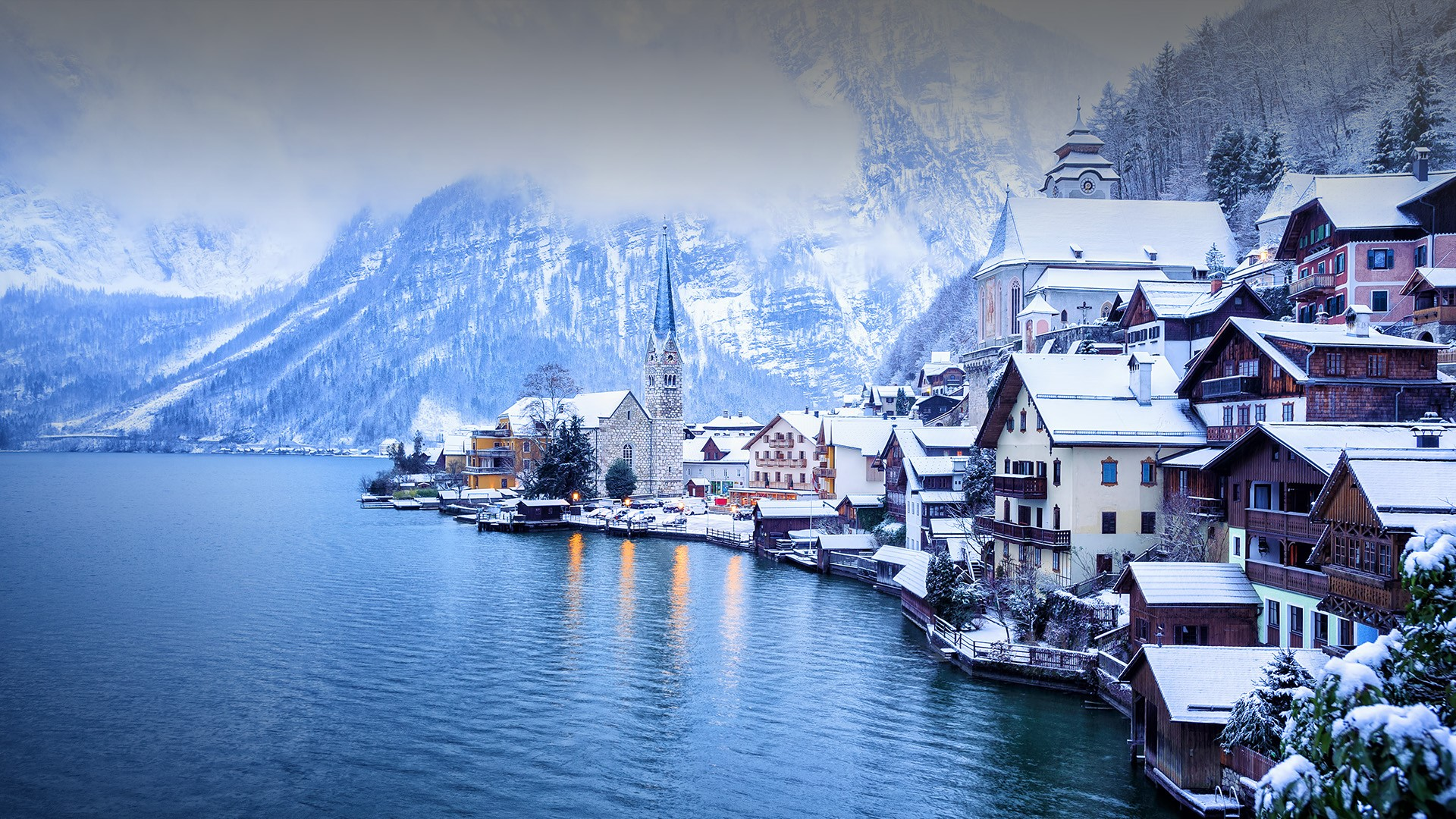 General 1920x1080 Hallstatt Austria landscape snow winter mountains water lake trees forest mist church house