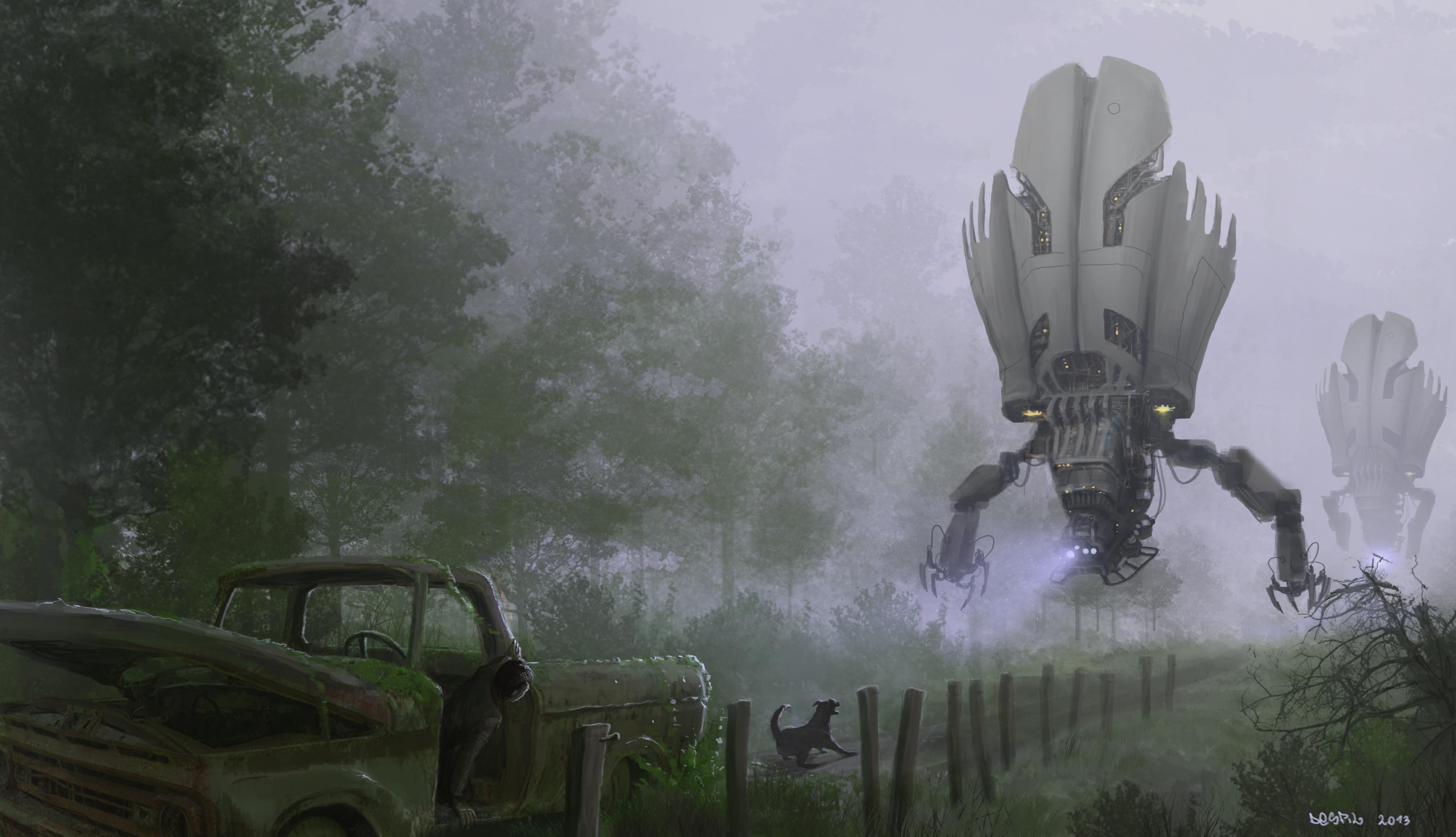 General 4000x2300 artwork robot dog car science fiction apocalyptic digital art