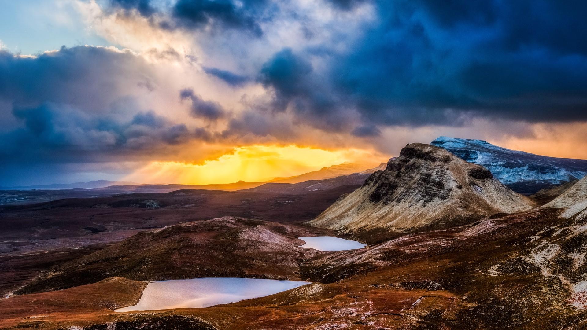 General 1920x1080 nature landscape clouds sunlight pond mountains sky rocks grass field Skye Scotland UK sunset