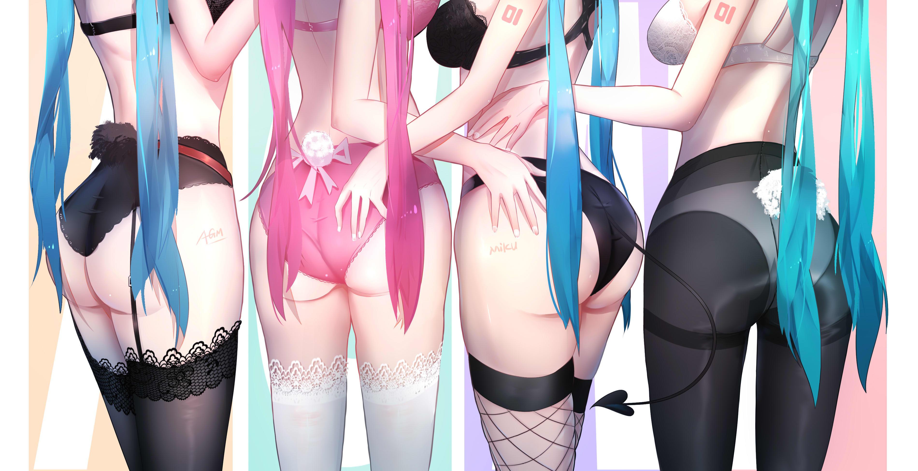 Anime 3800x1950 anime anime girls digital art artwork 2D portrait Hatsune Miku Vocaloid ass stockings Asses lined up pantyhose underwear twintails Omone Hokoma Agm