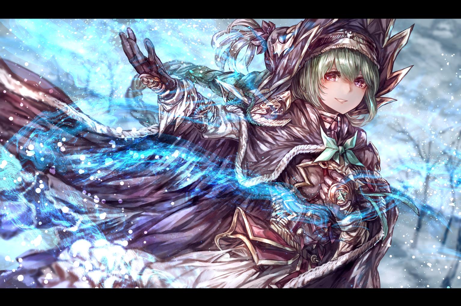 Anime 1534x1020 signo aaa green hair anime anime girls snow braided hair Armored
