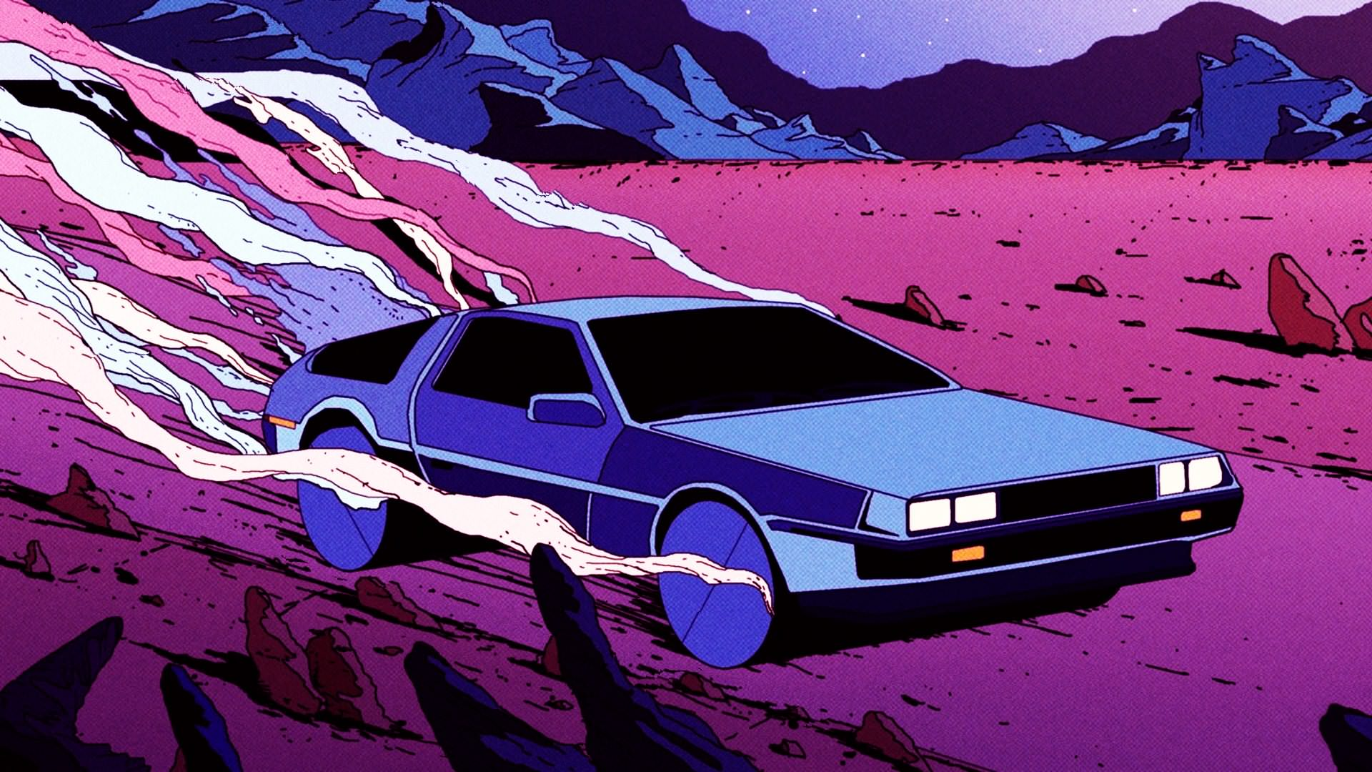 General 1920x1080 retrowave car pink DeLorean mountains blue desert Retro style