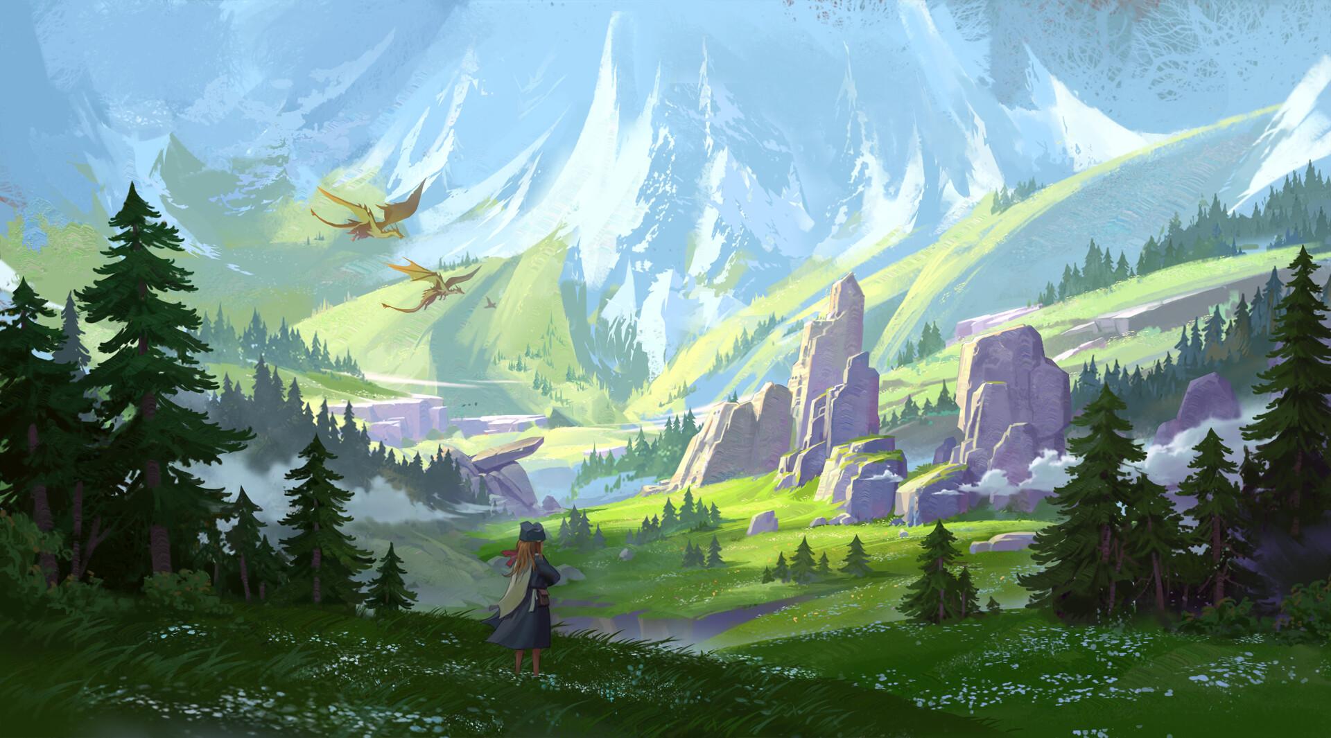 General 1920x1065 MH C digital art fantasy art mountains forest dragon flowers women
