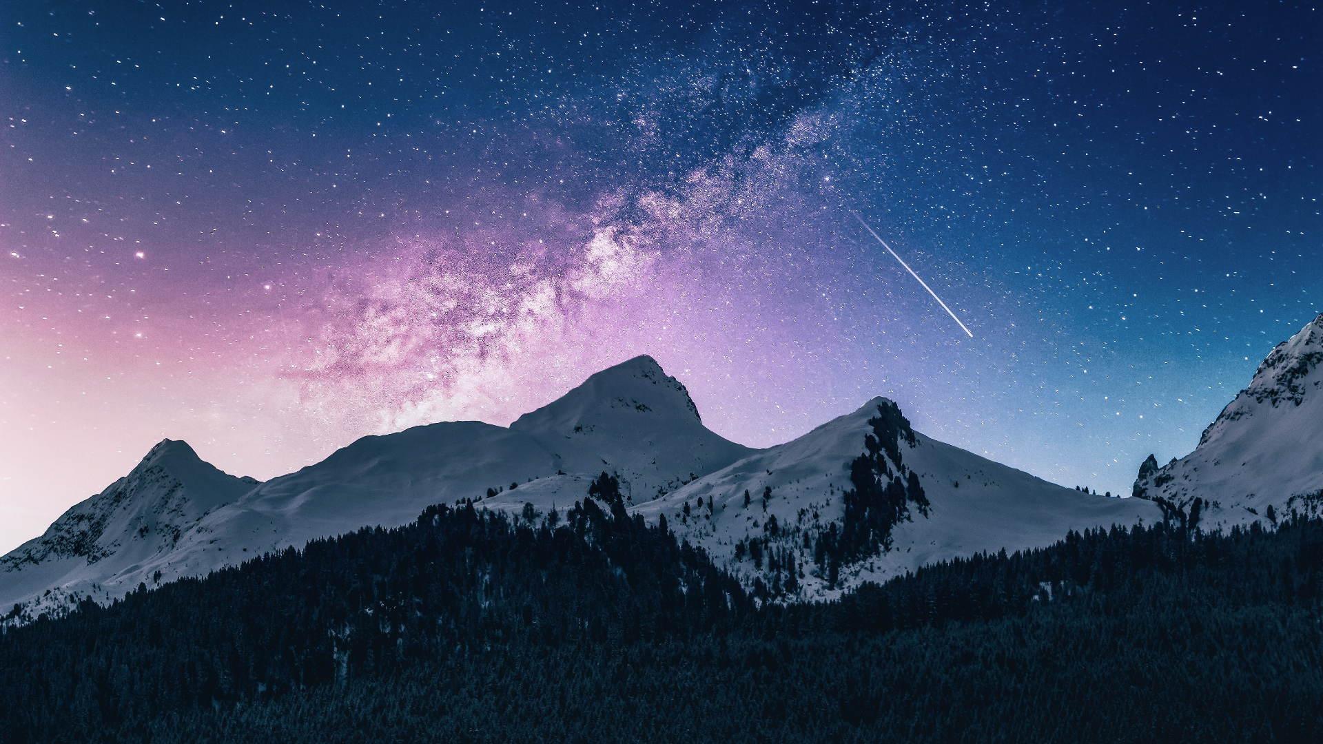 General 1920x1080 nature landscape mountains trees forest night snow sky stars shooting stars Italy
