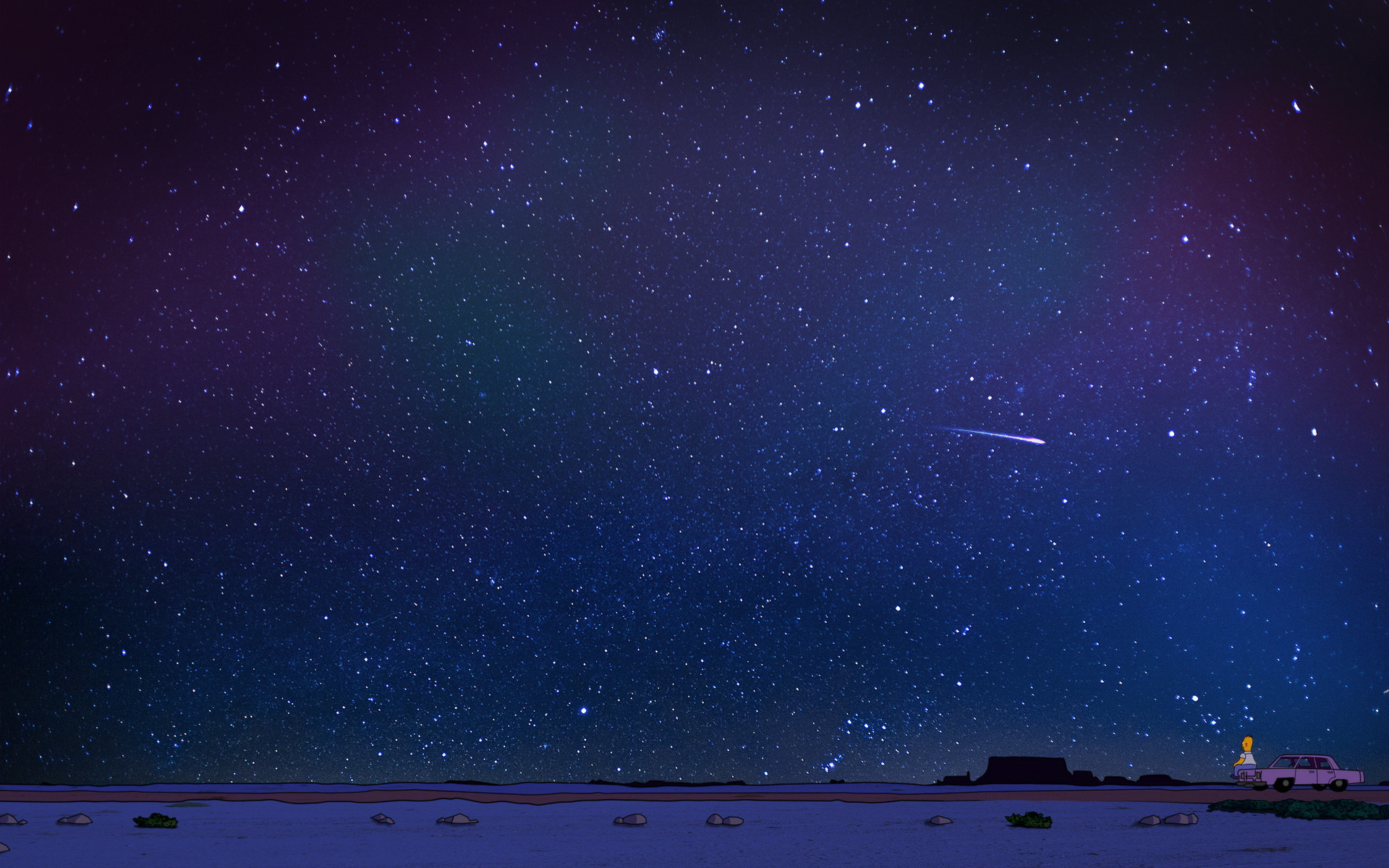 General 1920x1200 night stars space The Simpsons Homer Simpson