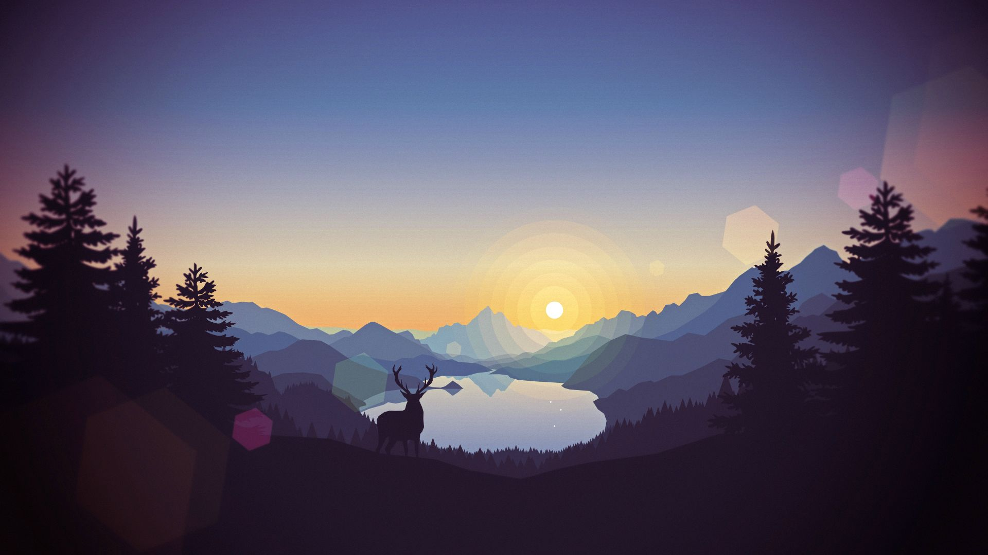 General 1920x1080 digital art landscape mountains sunset forest lagoon illustration deer