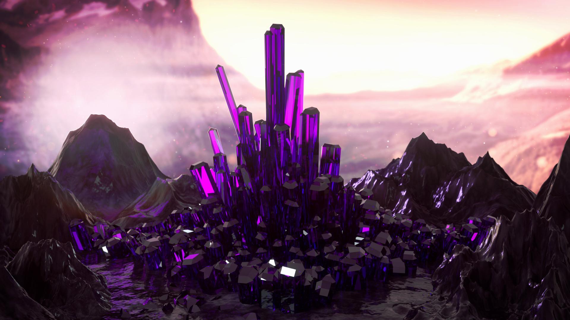 General 1920x1080 crystal  landscape pink violet reflection 3D Abstract