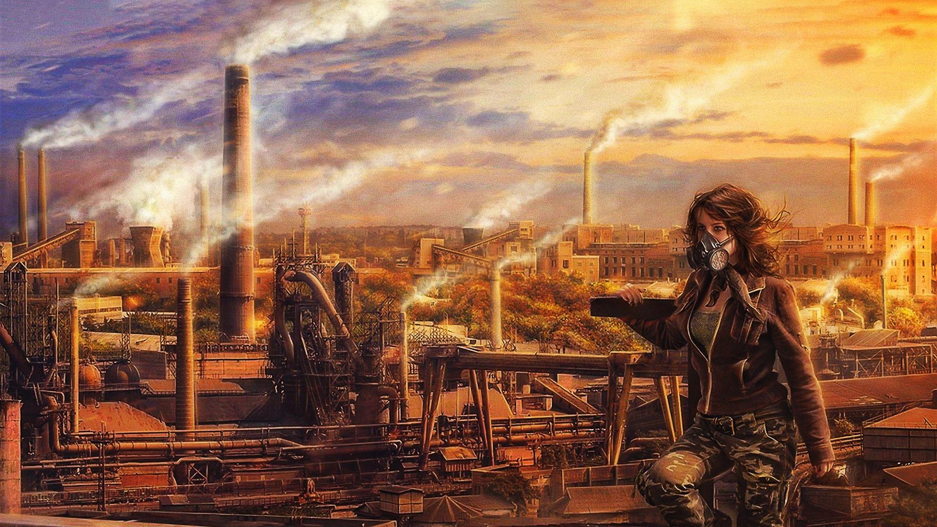 General 1920x1080 gas masks apocalyptic women artwork pollution industrial sky