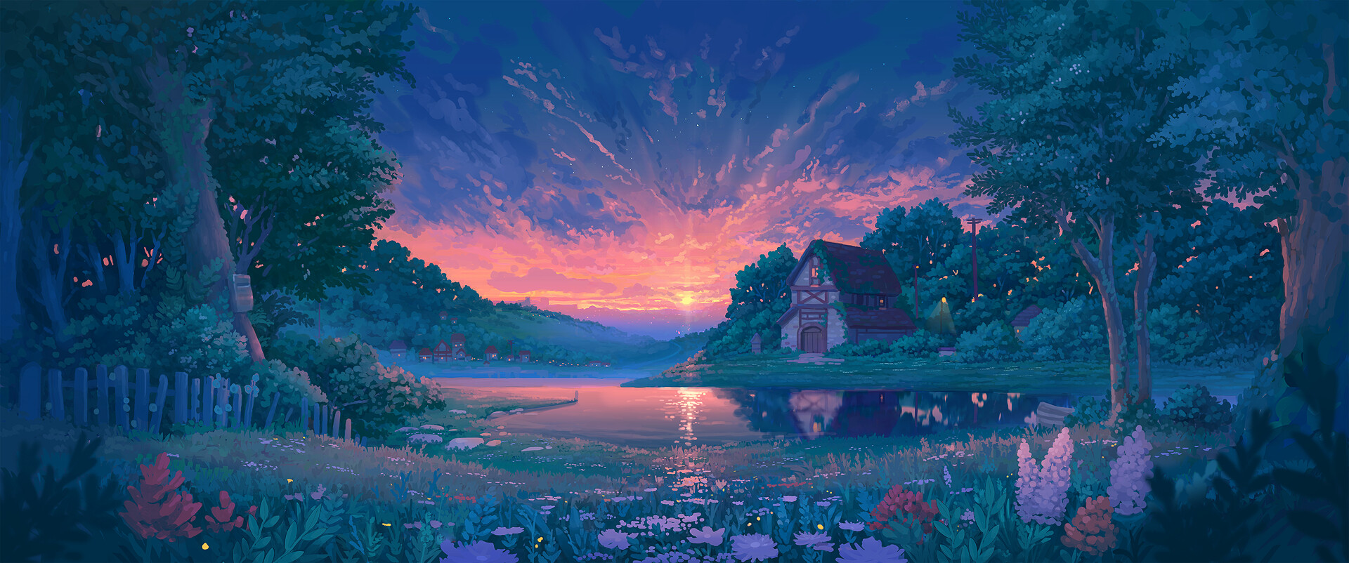 General 1920x802 Denis Istomin painting lake forest cottage sunrise lavender fence artwork fantasy art sky sunlight flowers plants