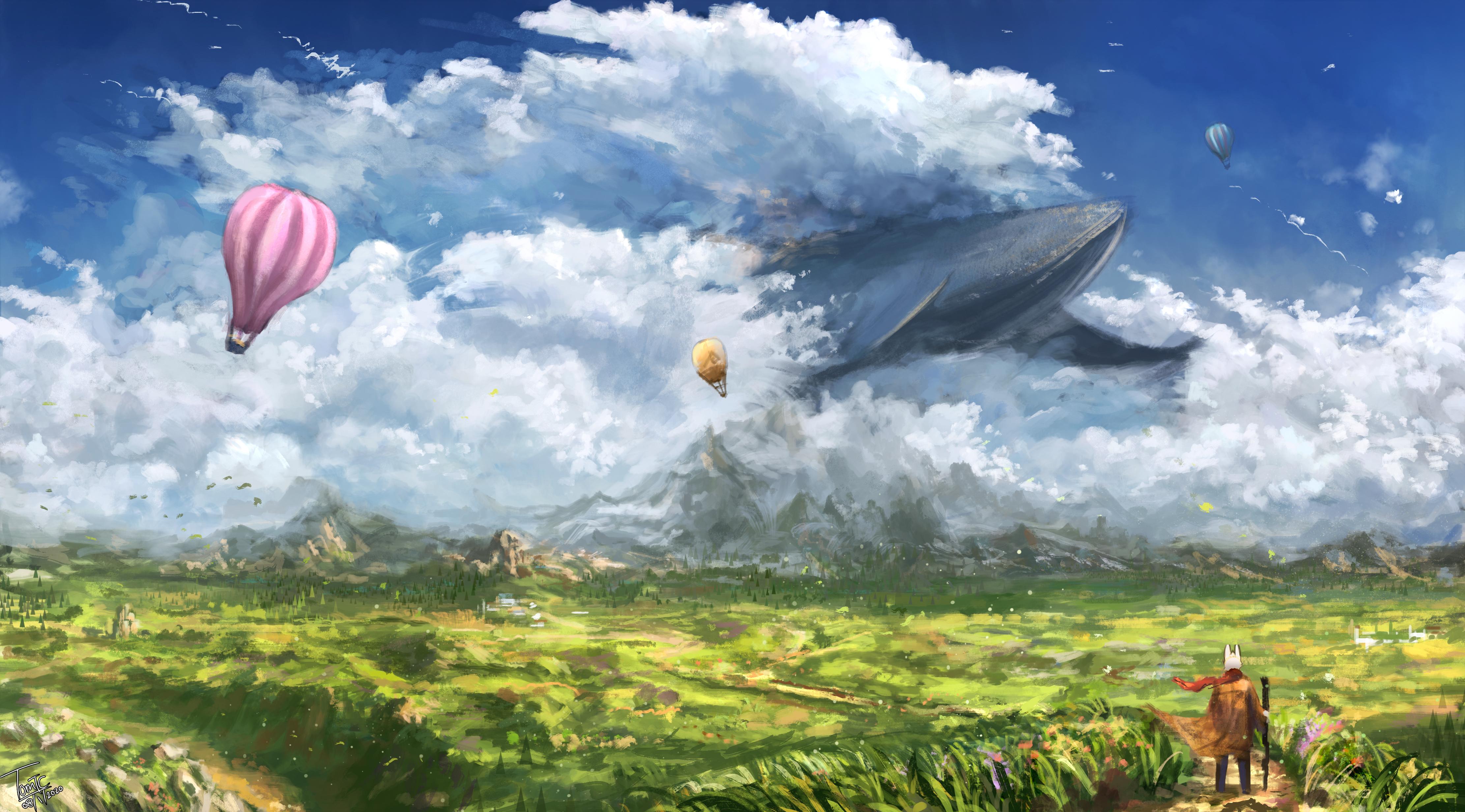 General 4446x2464 TomTC clouds whale grass mountains rabbits hot air balloons fantasy art field artwork