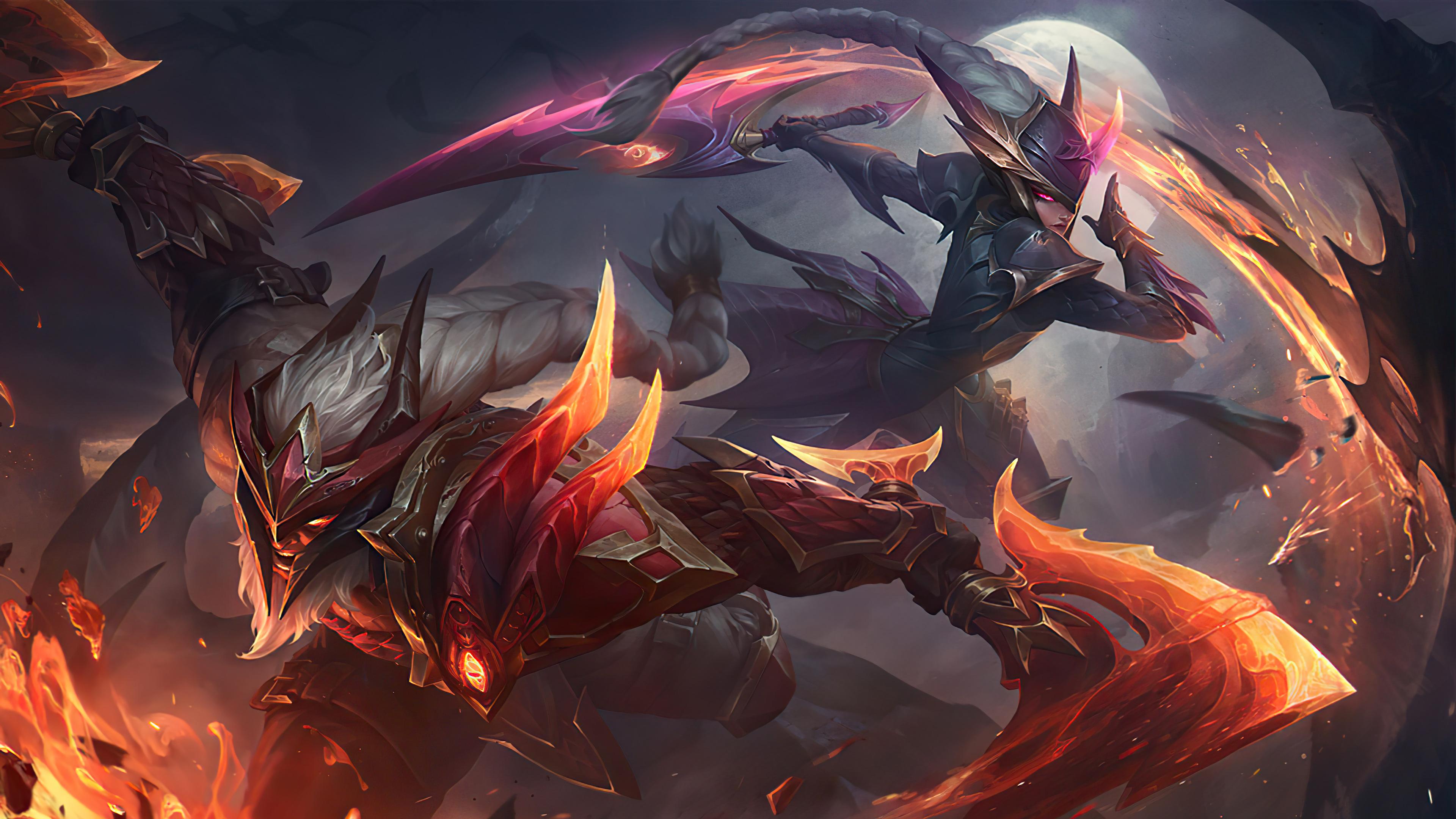 General 3840x2160 Olaf fire dragon League of Legends Riot Games Diana (League of Legends) GZG Olaf (League of Legends)