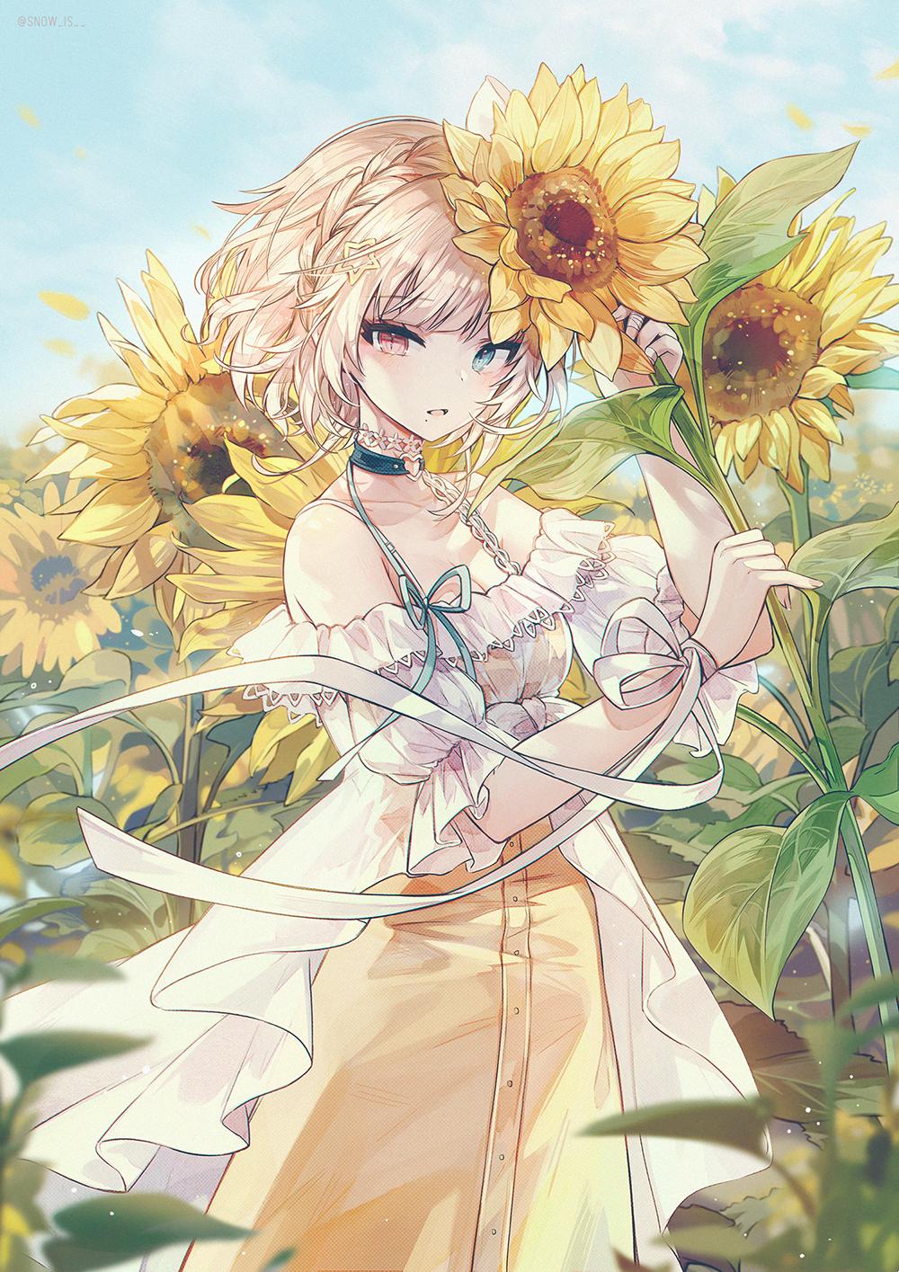Anime 1000x1415 anime anime girls digital art artwork vertical portrait display short hair blonde blue eyes dress plants flowers sunflowers open mouth