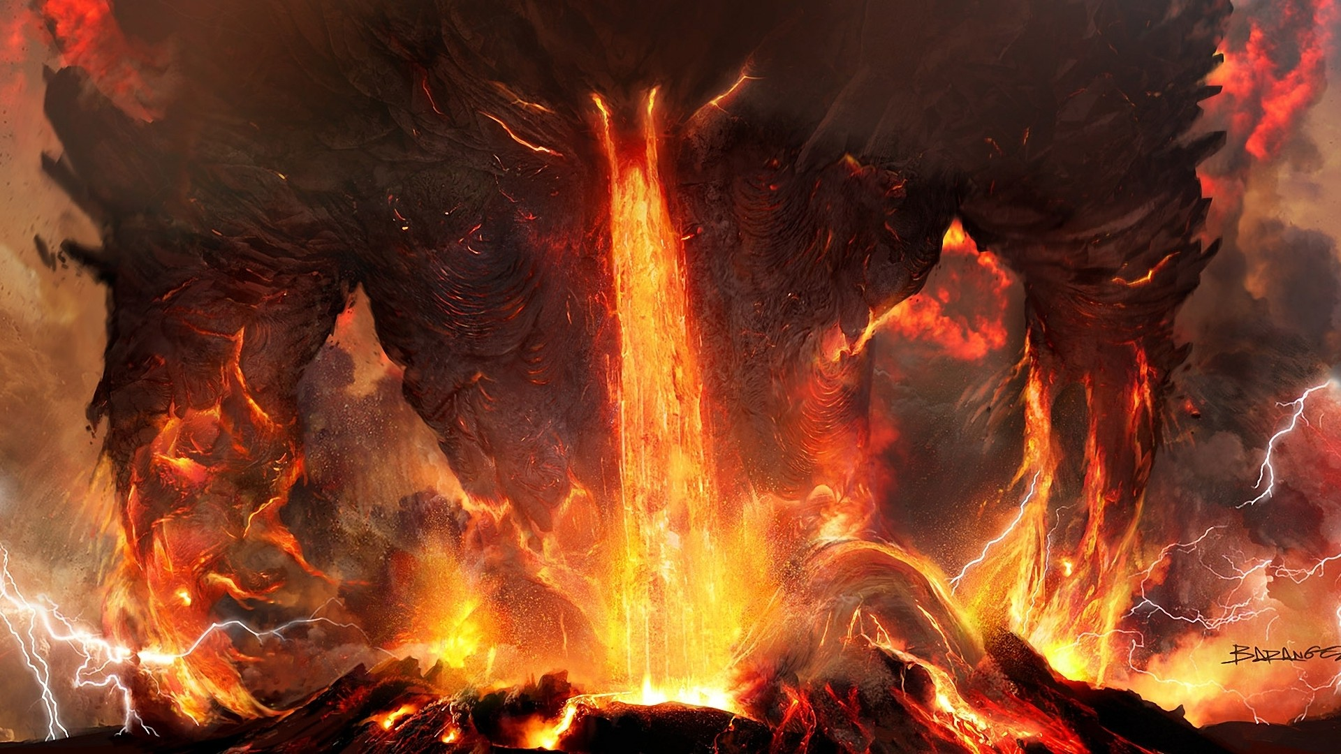 Artwork Fantasy Art Lava Nature Creature Demon