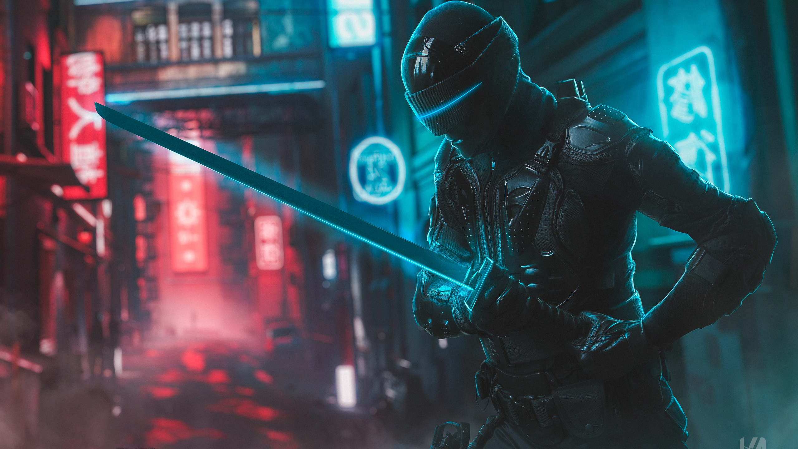 General 2560x1440 digital digital art artwork Ninja sword city urban modern lights city lights building neon neon lights blue red bokeh cyber futuristic futuristic armor cyberpunk dark Dark Cyberpunk Japan cyan