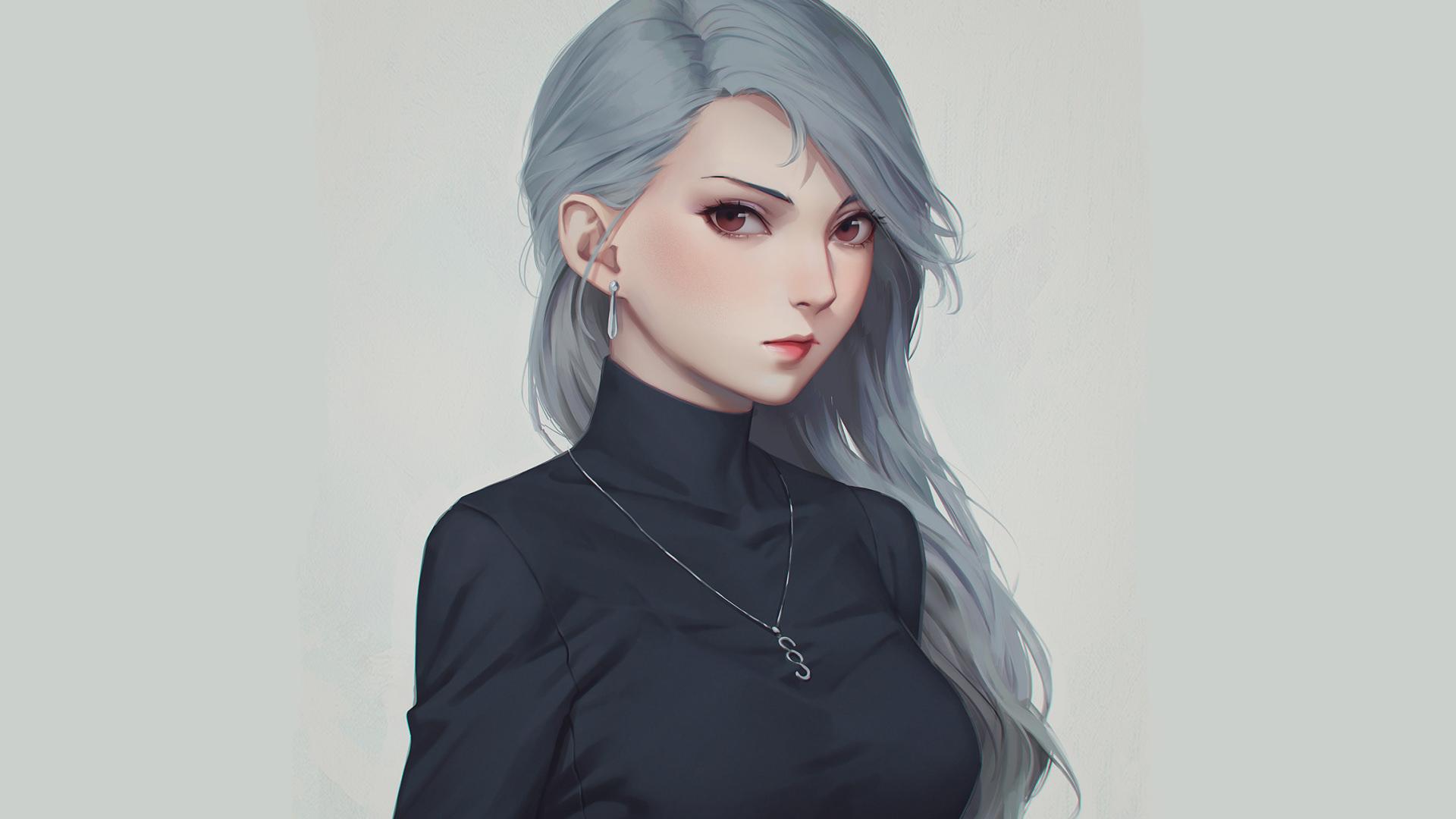 Anime 1920x1080 black clothing necklace anime girls portrait Persona 5 Persona series Sae Niijima