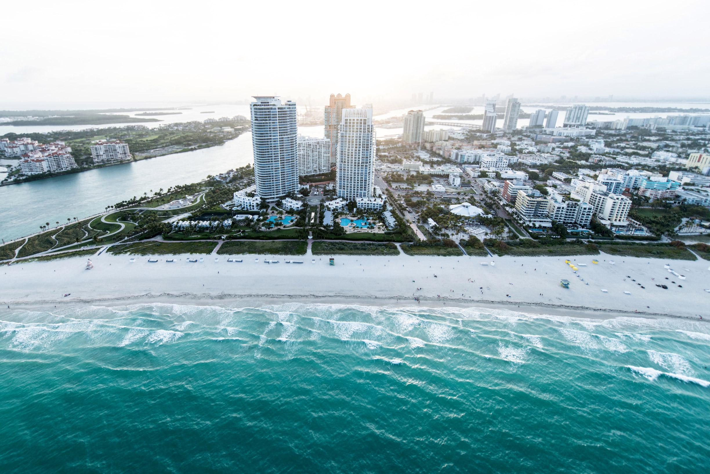 General 2448x1634 architecture building city cityscape sea Miami skyscraper USA beach waves aerial view palm trees