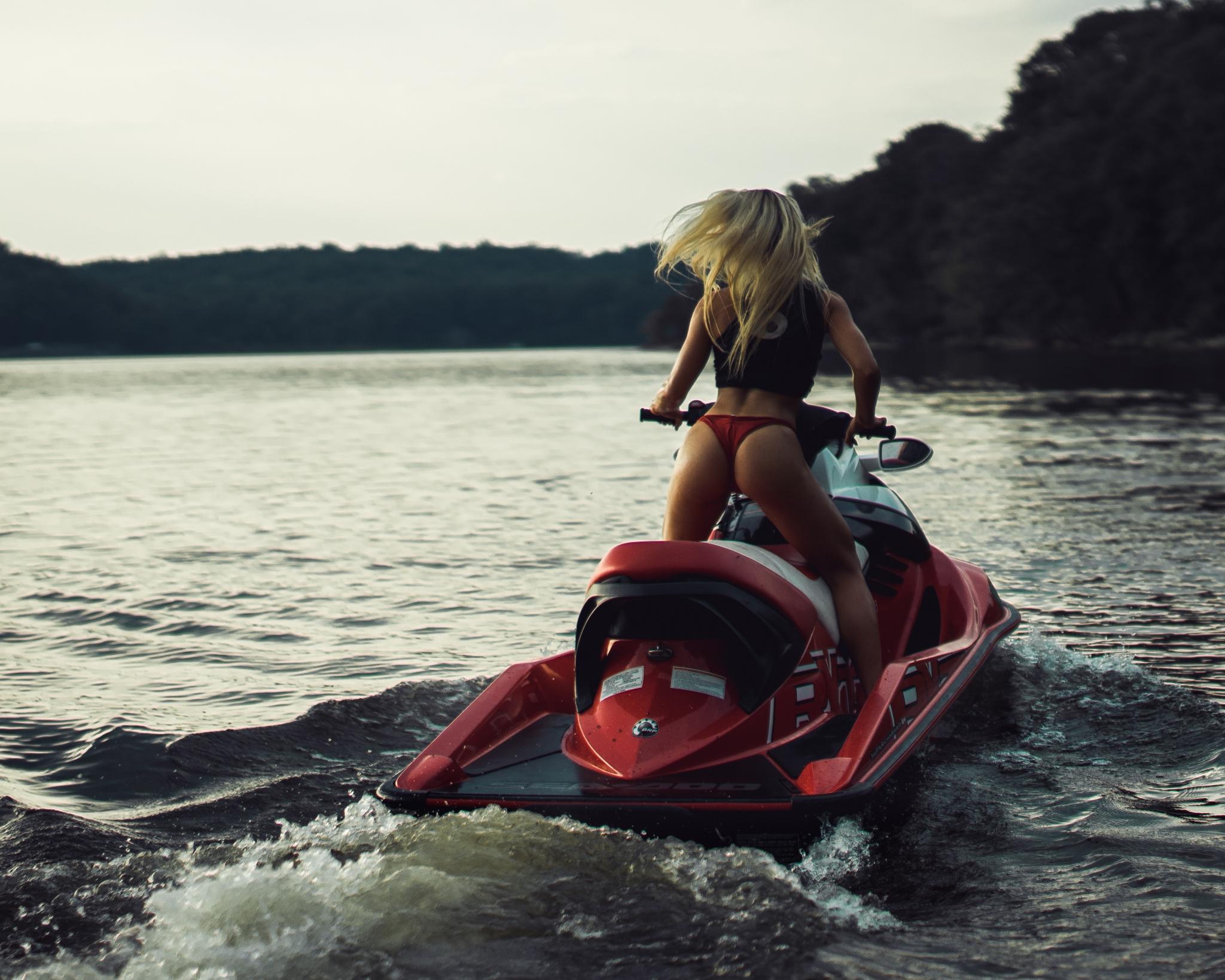 People 2048x1638 women model blonde bikini bikini bottoms ass back jetskis lake women outdoors