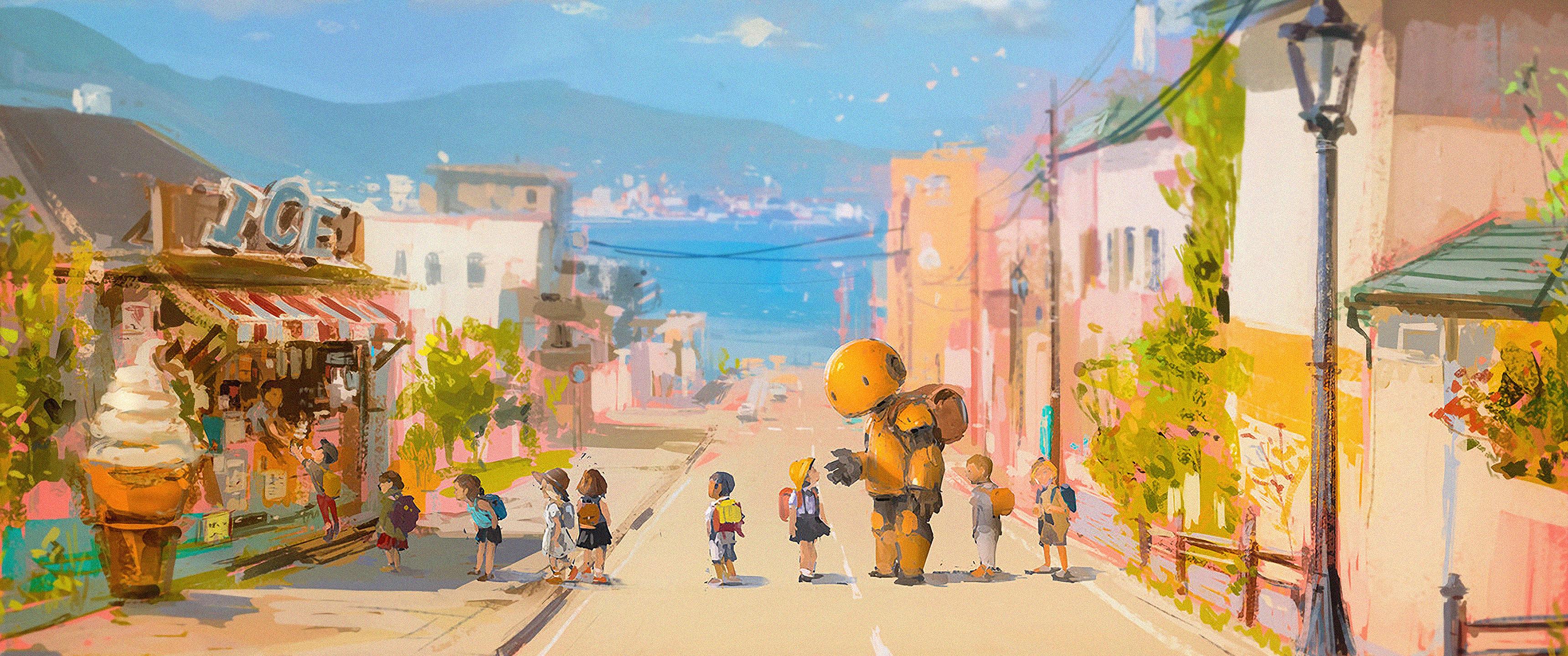 Anime 3440x1440 street robot beach sea children anime ultrawide ultra-wide