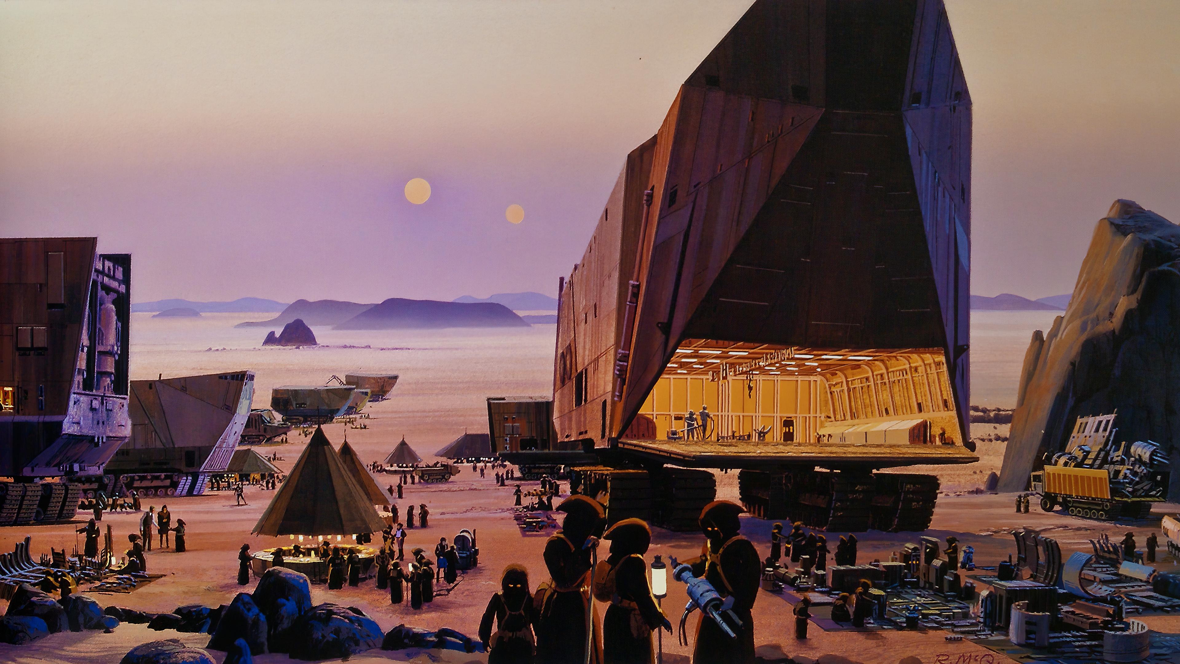 General 3840x2160 Star Wars cargo Jawas desert digital art parts Ralph McQuarrie