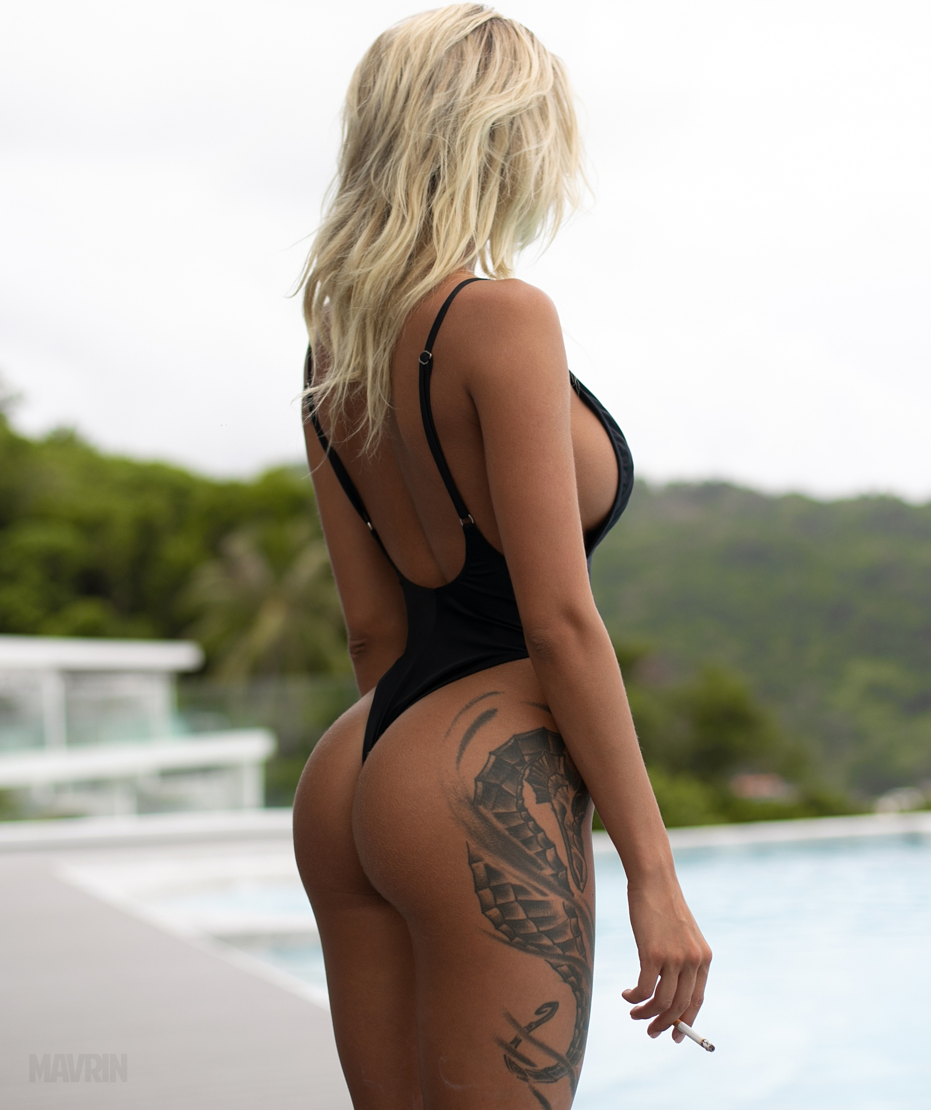 People 1812x2160 Aleksandr Mavrin blonde Russian women women outdoors model women depth of field butt floss tattoo back one-piece swimsuit cigarettes swimwear bodysuit portrait display Nata Lee