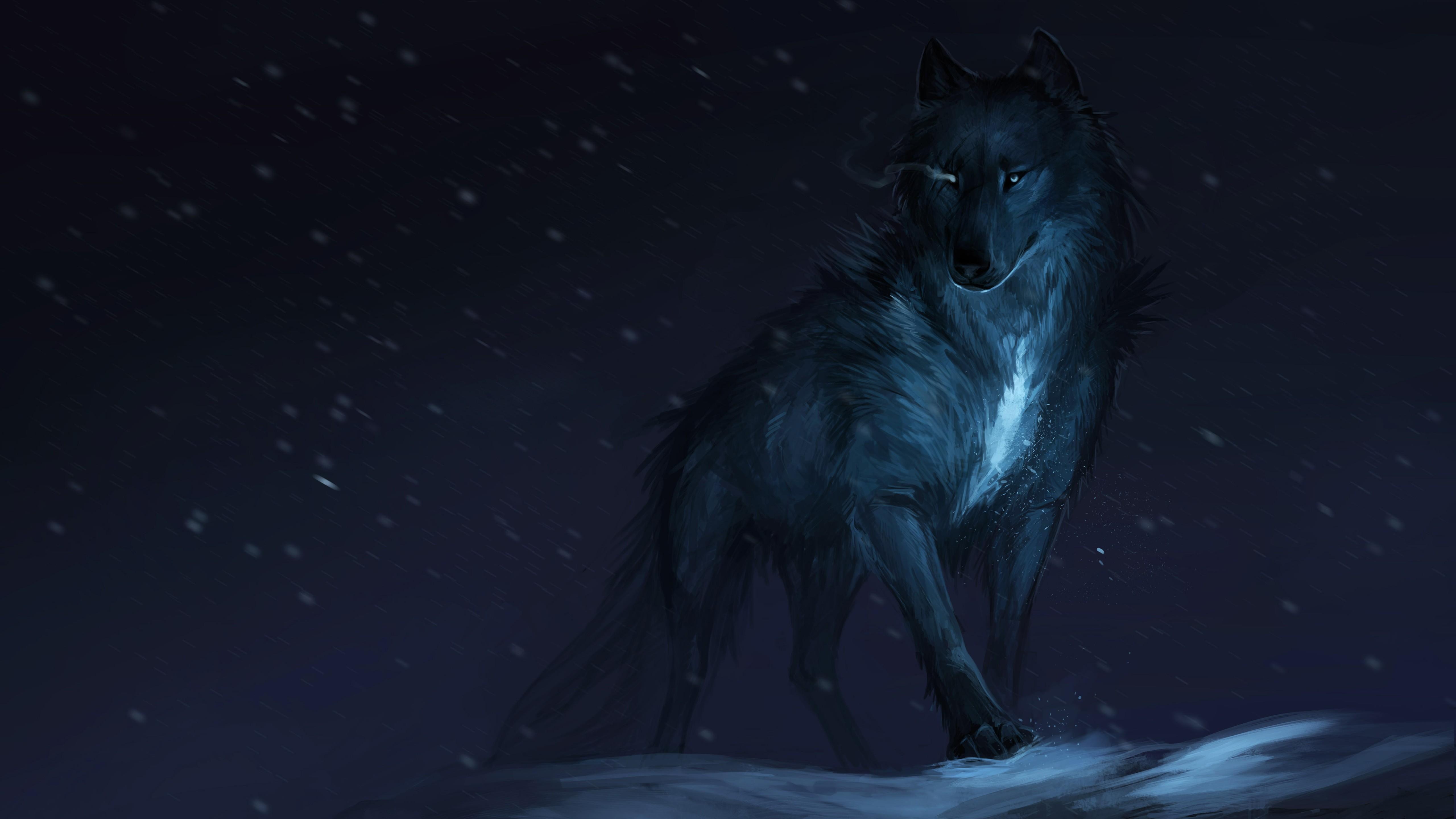 General 5120x2880 wolf white animals mammals artwork dark snow winter fantasy art