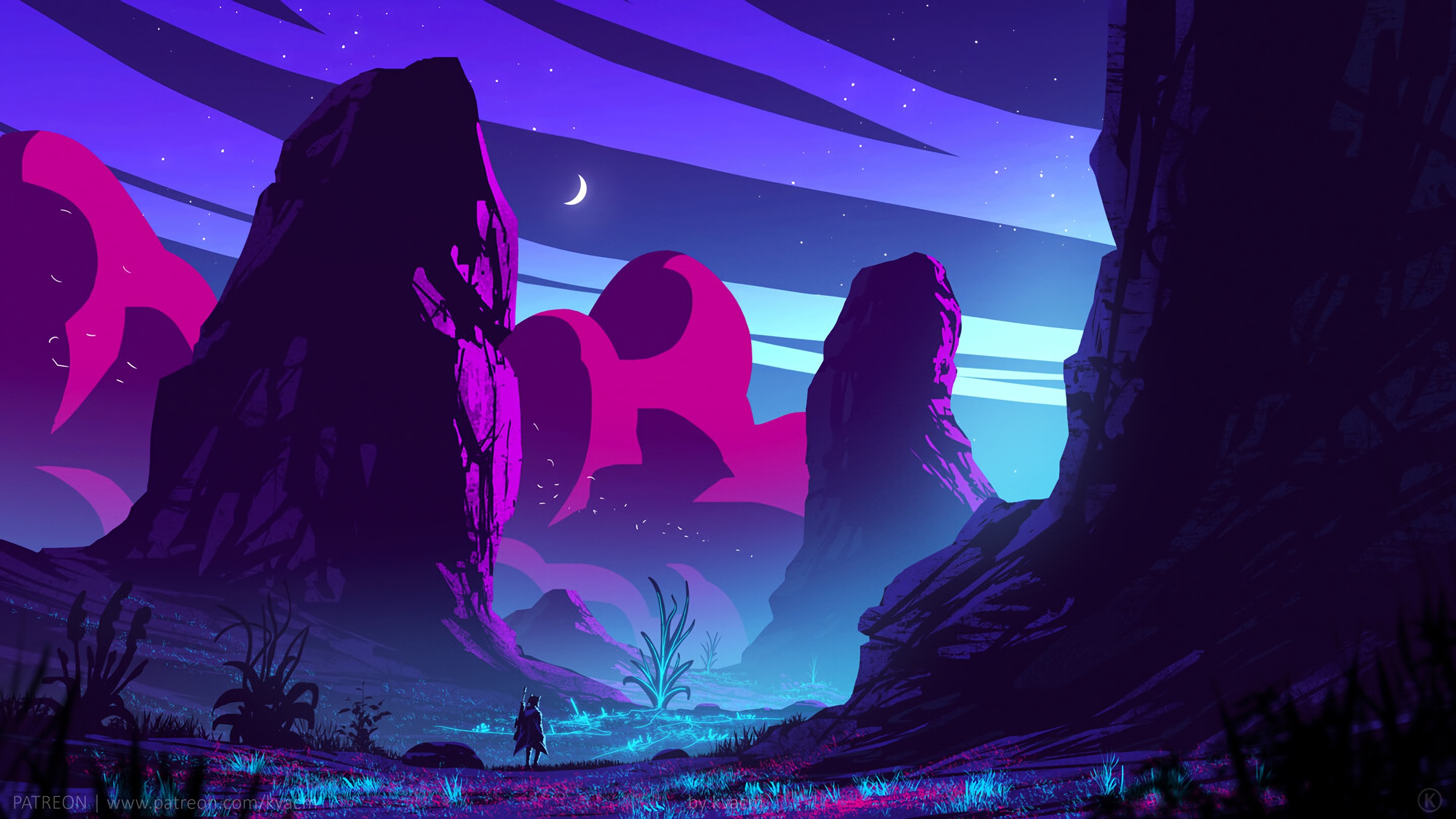 General 2880x1620 digital digital art artwork illustration Retrowave synthwave vaporwave silhouette traveller men outdoors warrior night night sky sky skyscape mountains rocks plants neon lights neon lights dark Moon stars clouds fantasy art landscape colorful cyan