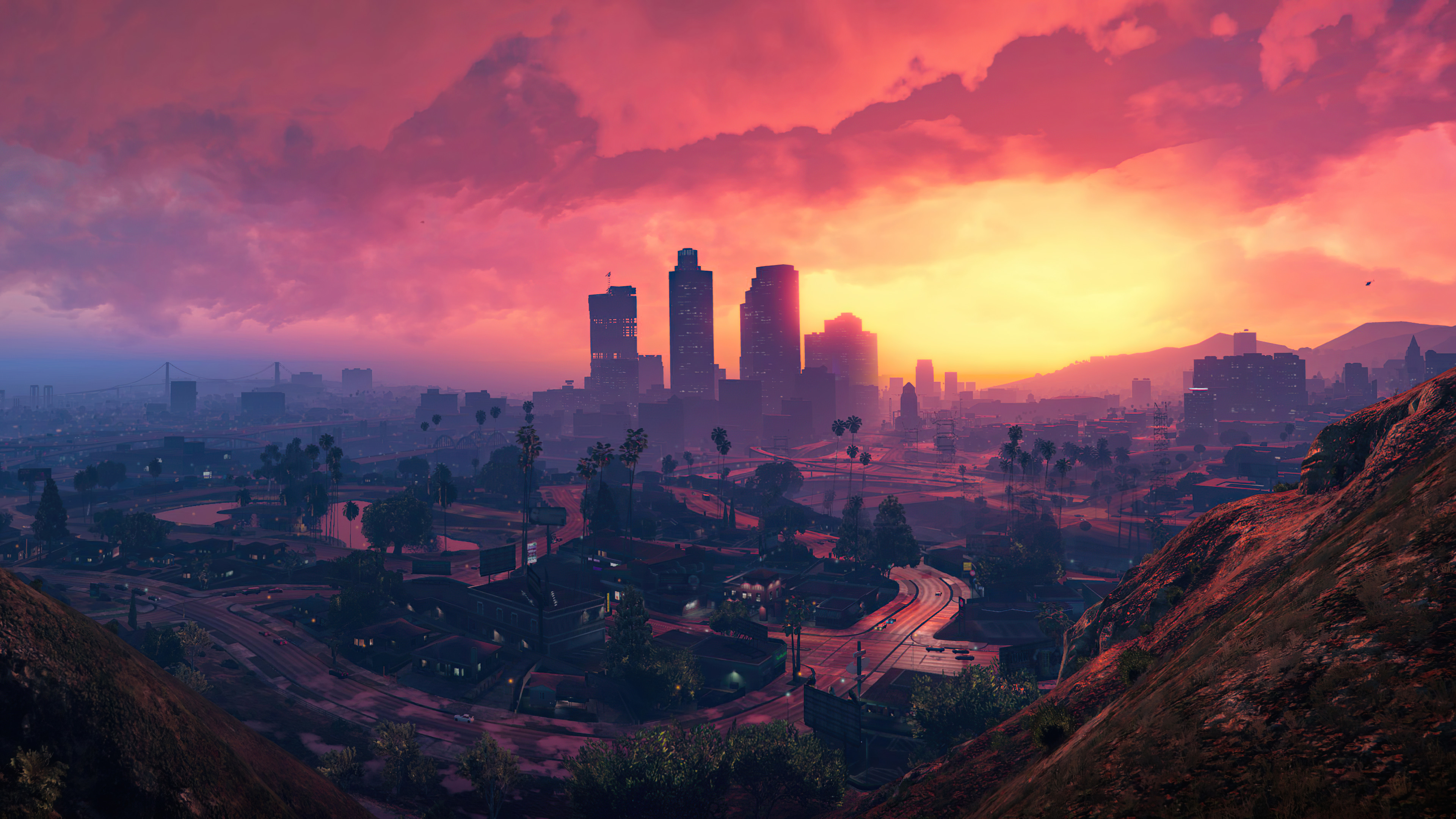 General 3840x2160 Grand Theft Auto Grand Theft Auto V sunset city mountains