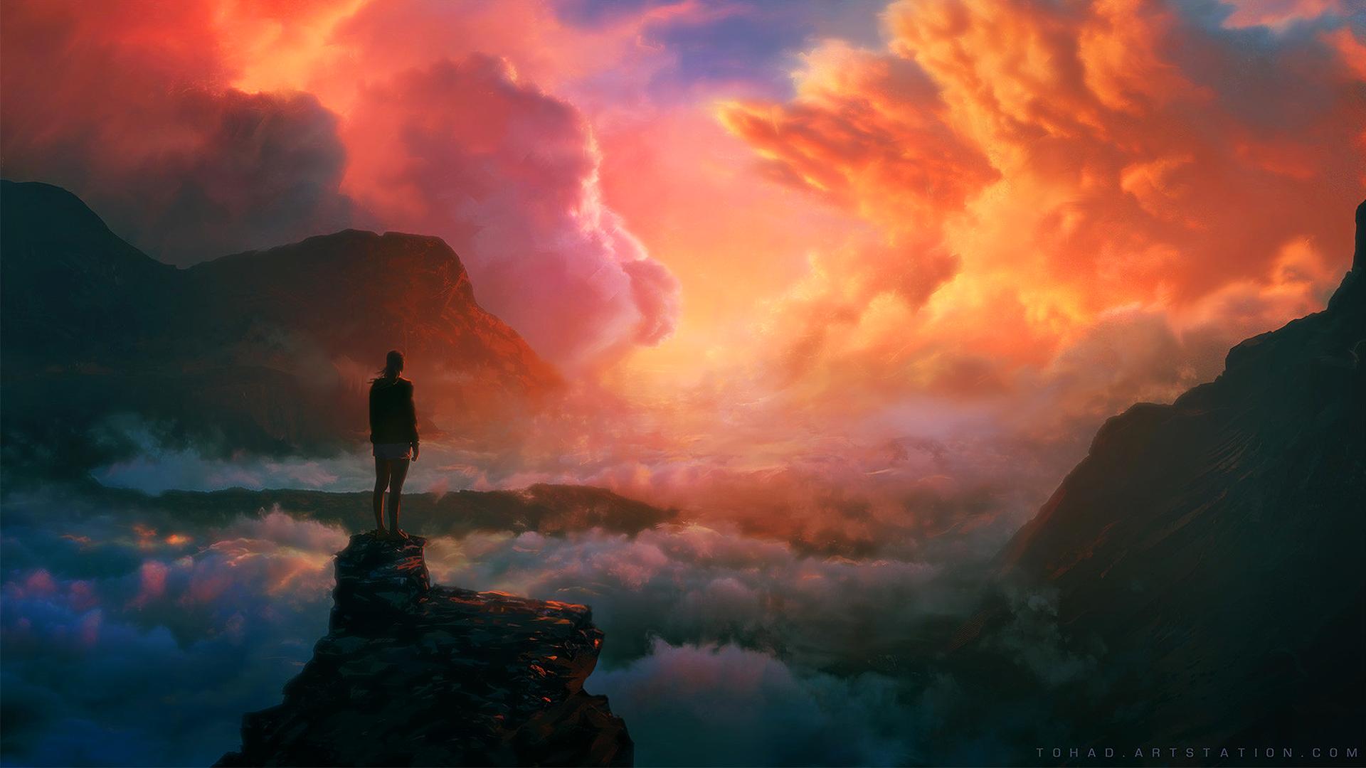 General 1920x1080 Sylvain Sarrailh artwork clouds mountains alone standing landscape