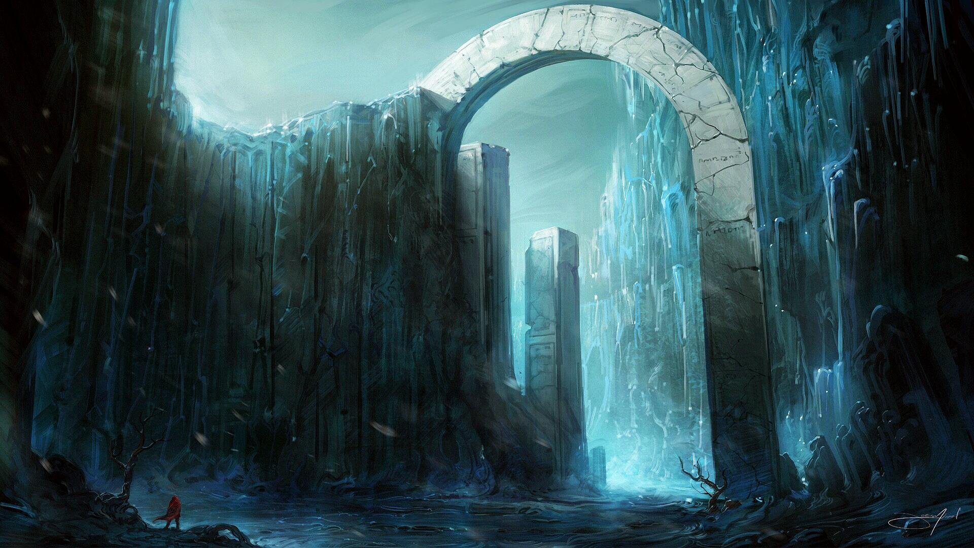 General 1920x1080 Jorge Jacinto digital art artwork fantasy art alone standing ice arch Fantasy Architecture mountains cyan