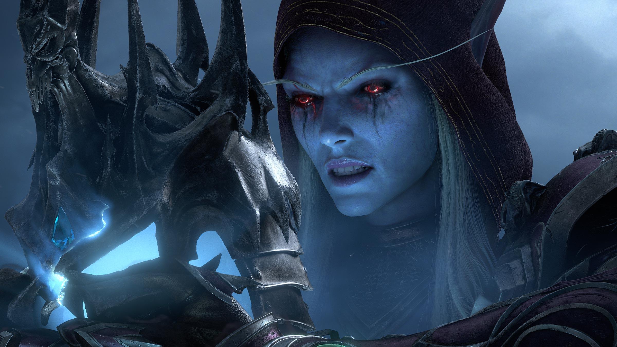 General 2400x1350 World of Warcraft Blizzard Entertainment CG cinematic World of Warcraft: Shadowlands Warcraft red eyes Sylvanas Windrunner