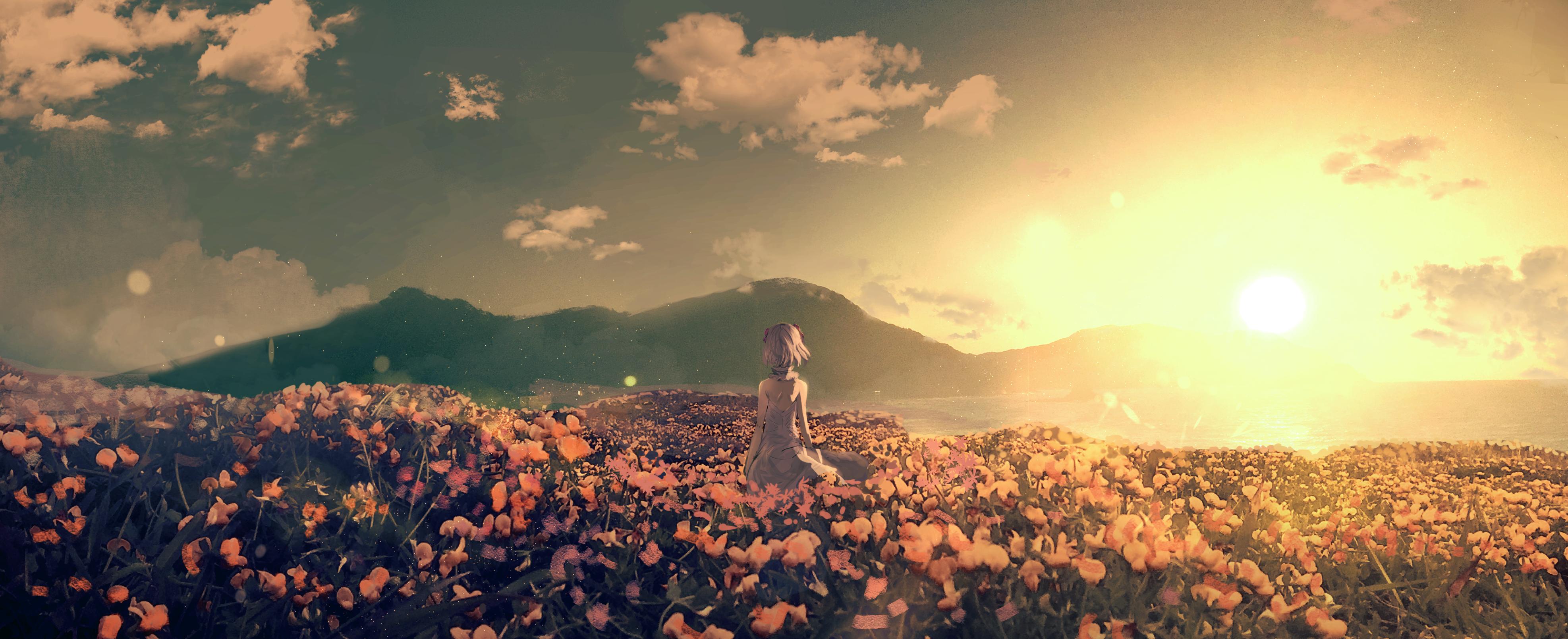 Anime 3948x1610 anime mountains landscape sky clouds sunset
