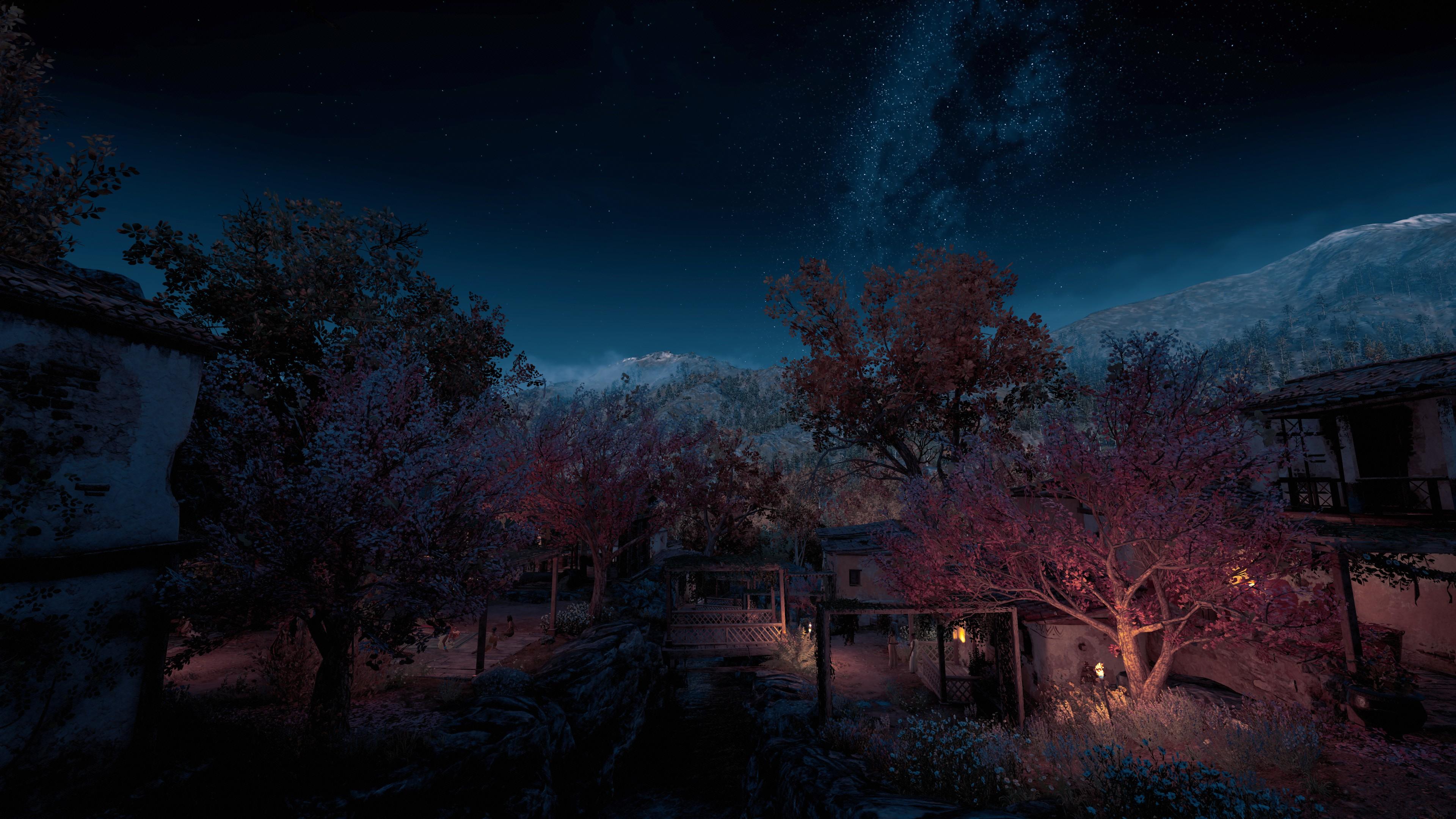 General 3840x2160 Assassins Creed: Odyssey screen shot Video Game Landscape night