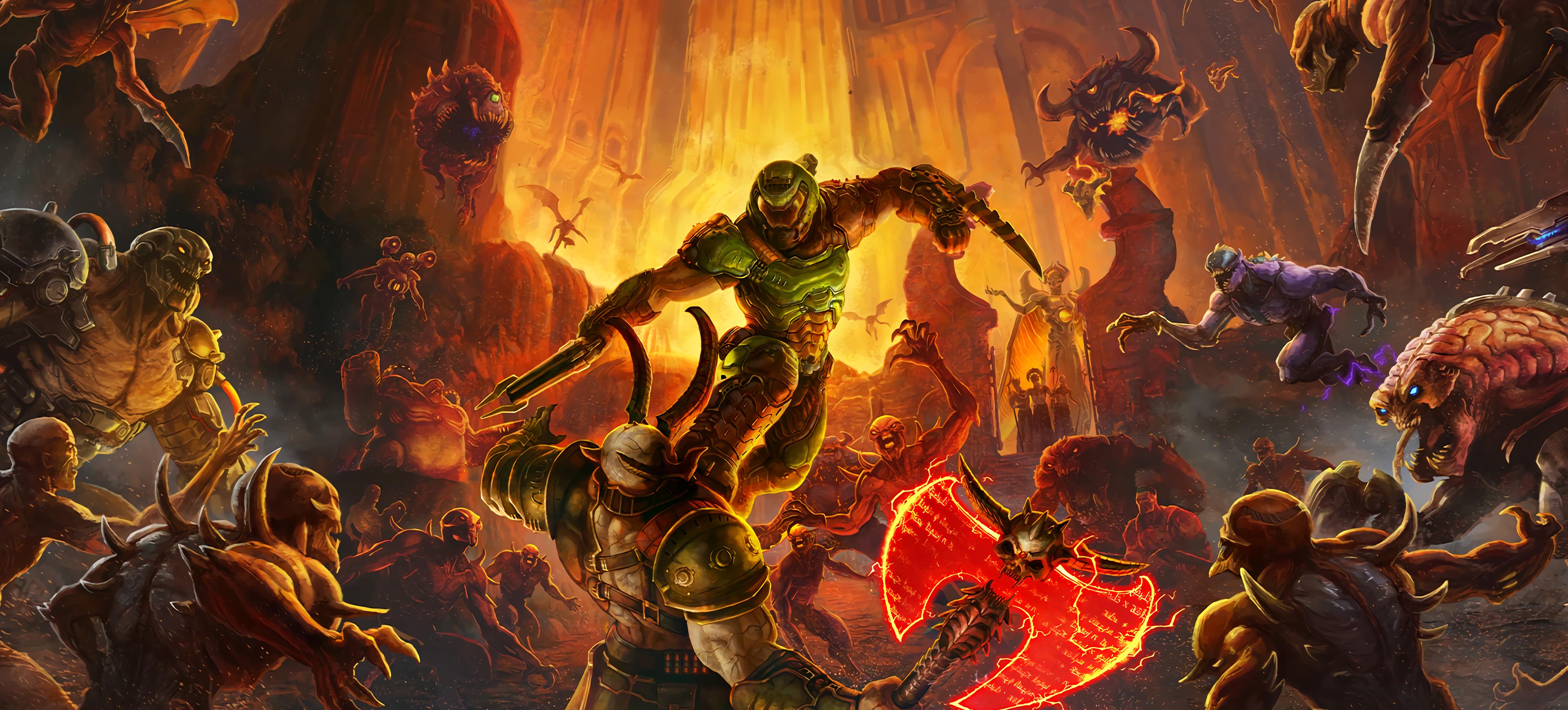 General 3840x1740 Doom (game) DOOM Eternal hell demon video games Bethesda Softworks Id Software artwork