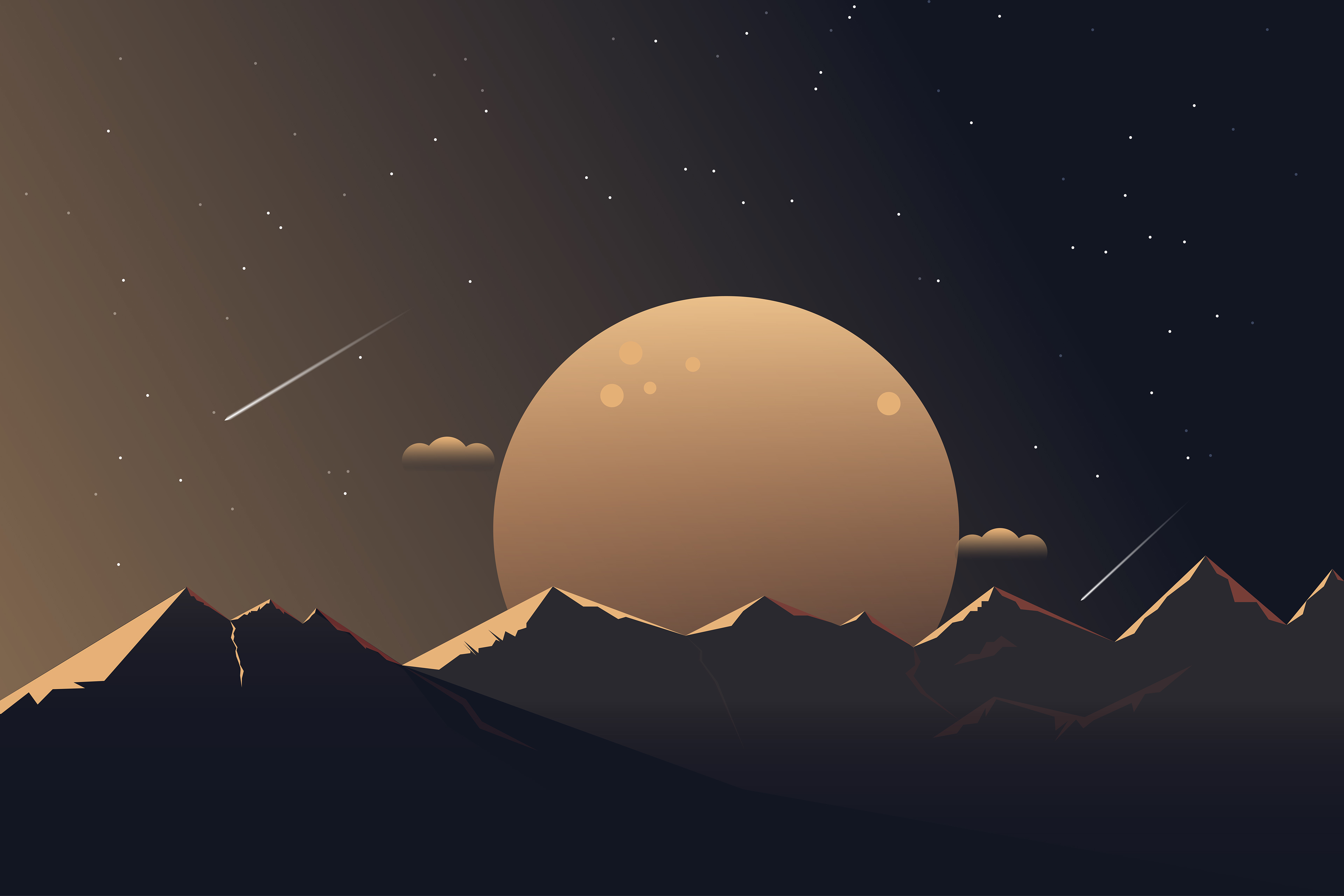 General 3840x2560 digital digital art artwork illustration minimalism sunset sunrise dusk dark nature landscape mountains Moon moonlight clouds stars night comet