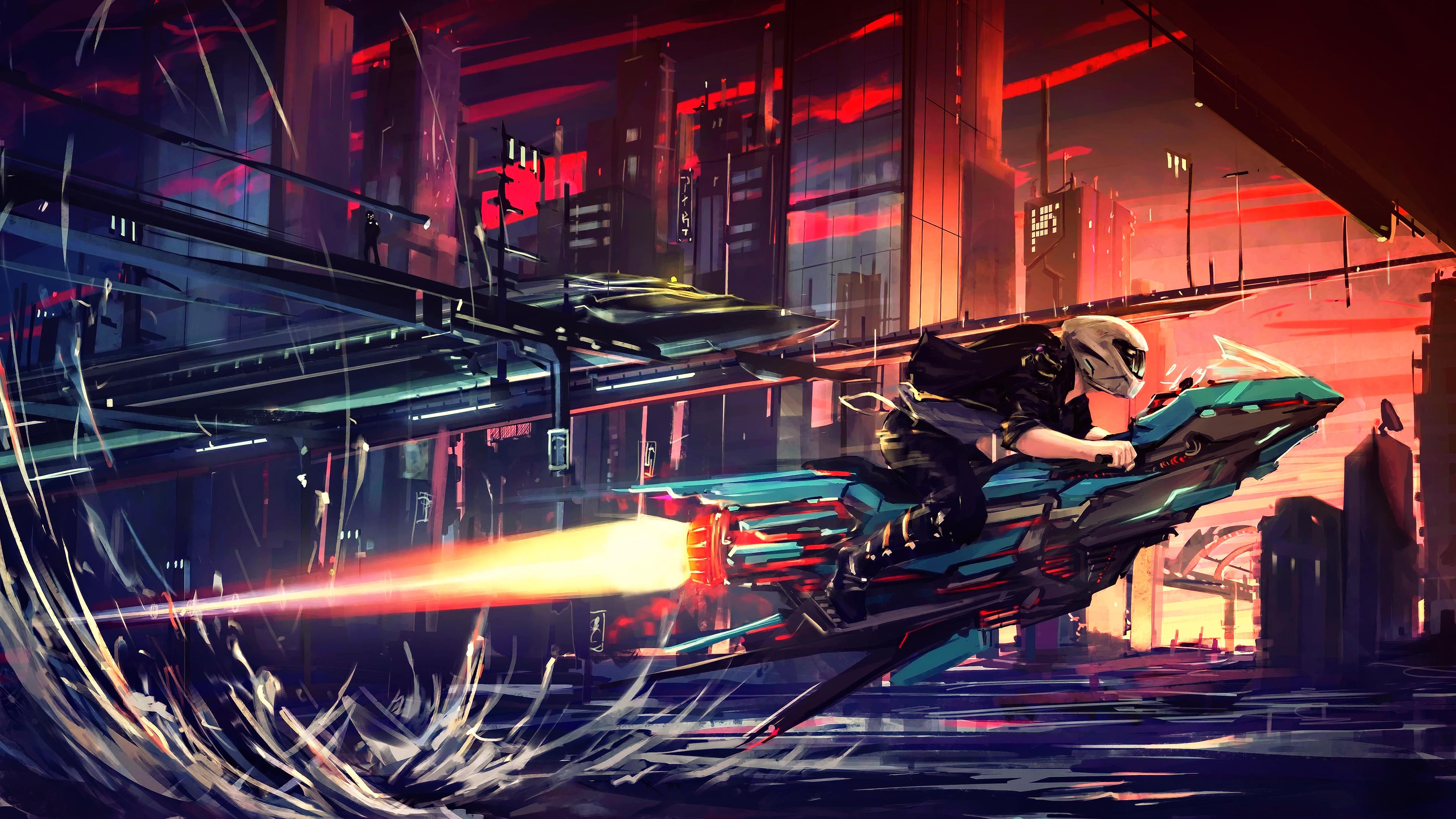 General 3840x2160 science fiction digital art concept art artwork futuristic fantasy art fan art 3D CGI sunset spaceship cyberpunk cyber cityscape city