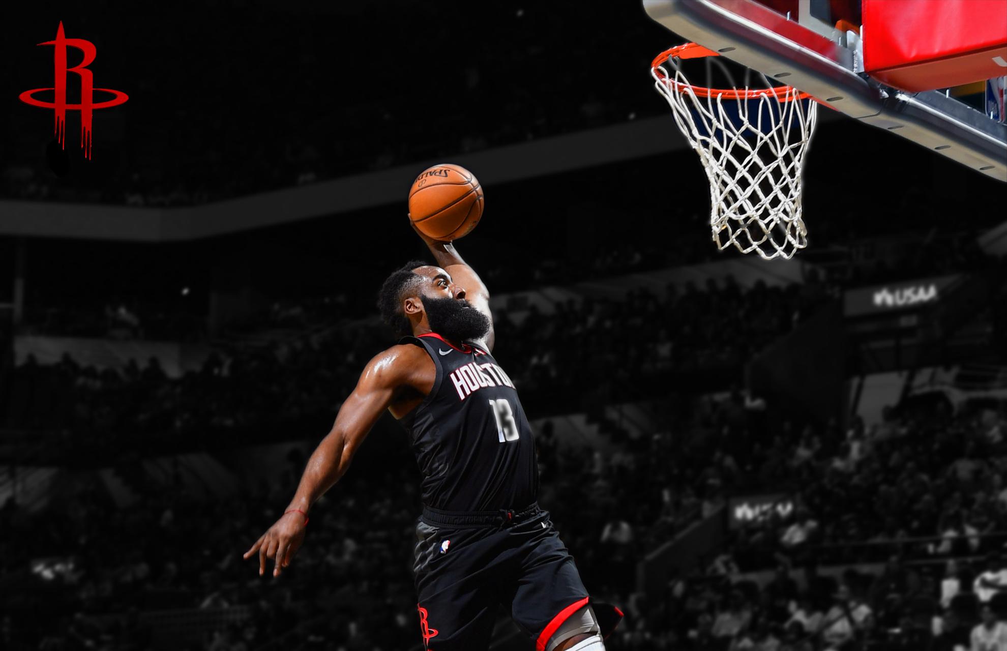 People 1980x1280 James Harden NBA Houston Rockets  dunks basketball people sport  sports beard balls men