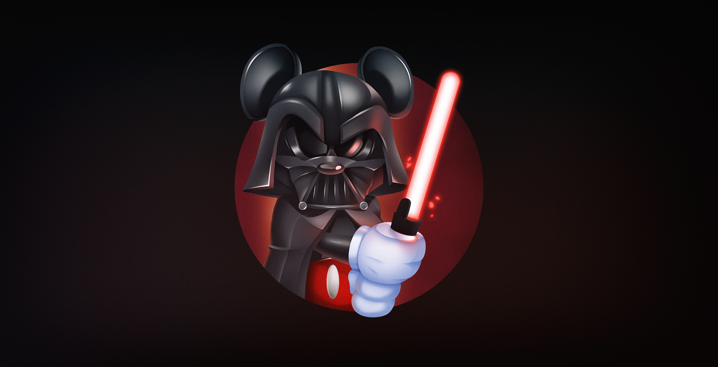 General 2500x1280 Mickey Mouse Darth Vader Star Wars Star Wars Villains simple background mouse ears lightsaber Sith