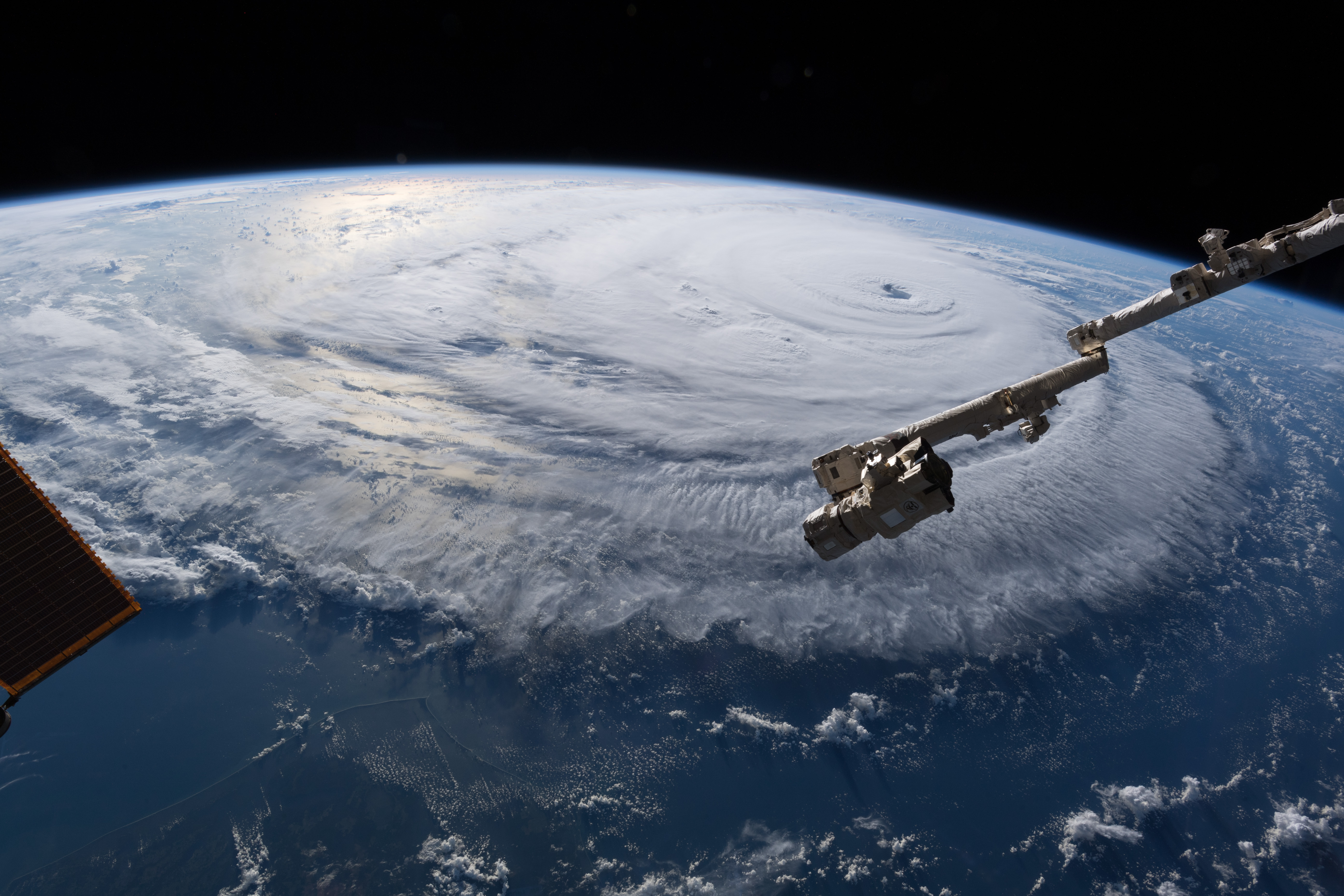 General 5568x3712 hurricane Earth clouds spiral cyclone photography Alexander Gerst NASA snow science space station nature storm bird's eye view landscape satellite ISS planet sea Typhoon sunlight atmosphere