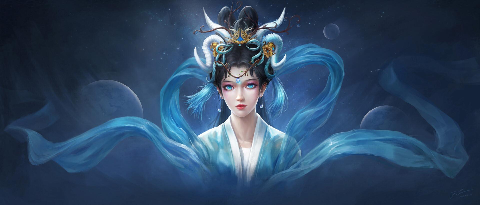 General 1920x821 fantasy art artwork blue eyes fantasy girl